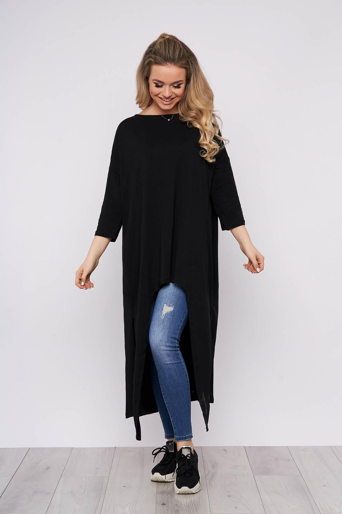 Rochie neagra lunga casual din bumbac cu croi larg cu maneci lungi si decolteu la baza gatului