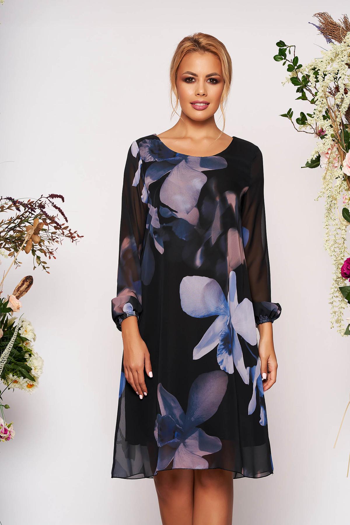 Rochie albastra din voal cu imprimeu floral captusita pe interior - medelin.ro
