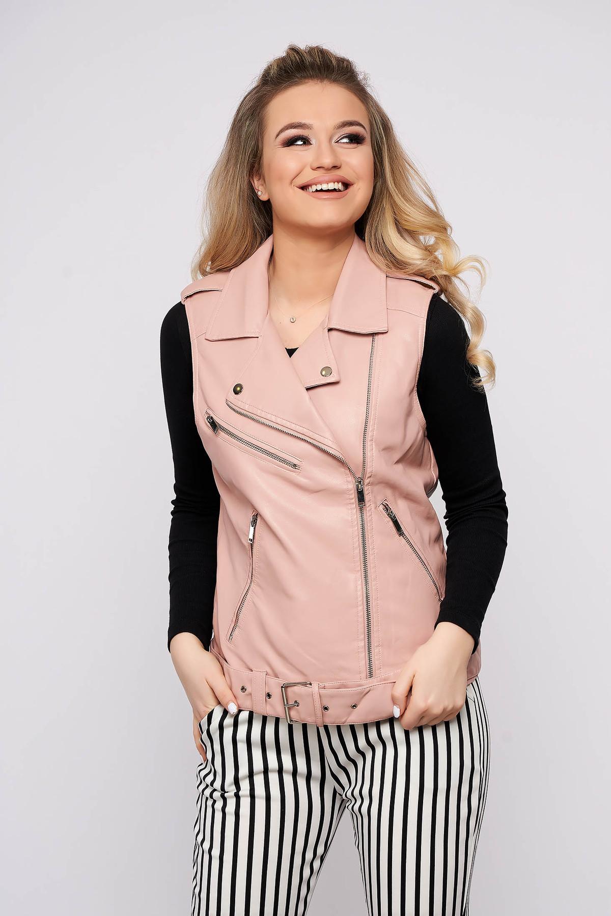 Vesta roz prafuit SunShine casual imitatie de piele fara maneci cu buzunare se inchide cu fermoar