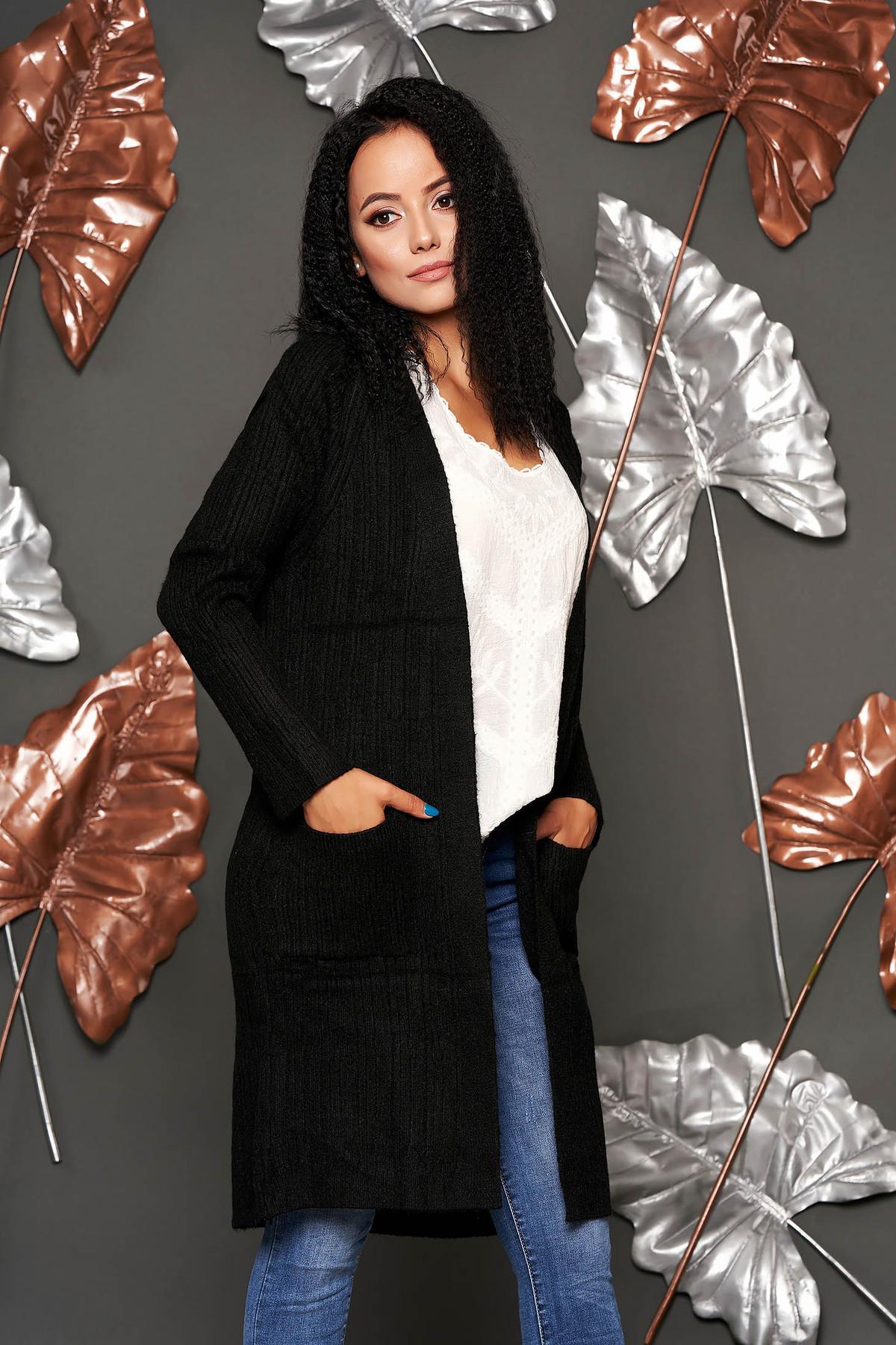Cardigan SunShine negru lung casual tricotat cu buzunare in fata fara inchidere