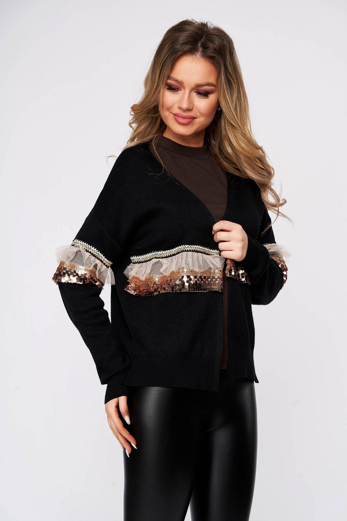Cardigan SunShine negru casual tricotat cu croi larg cu maneci lungi cu aplicatii cu paiete imagine