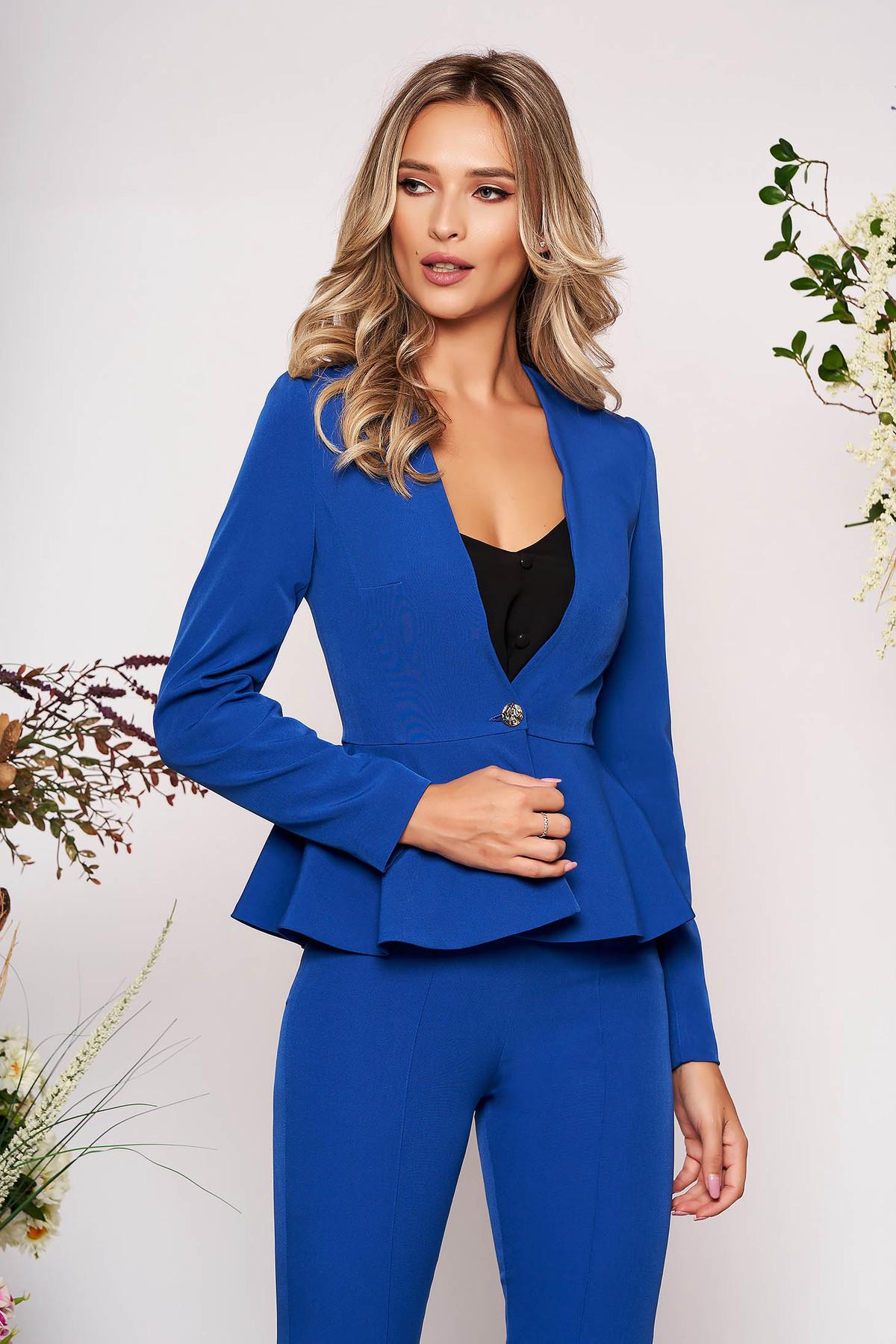 Sacou StarShinerS albastru elegant scurt din stofa elastica cu peplum cu maneci lungi si captusit pe interior