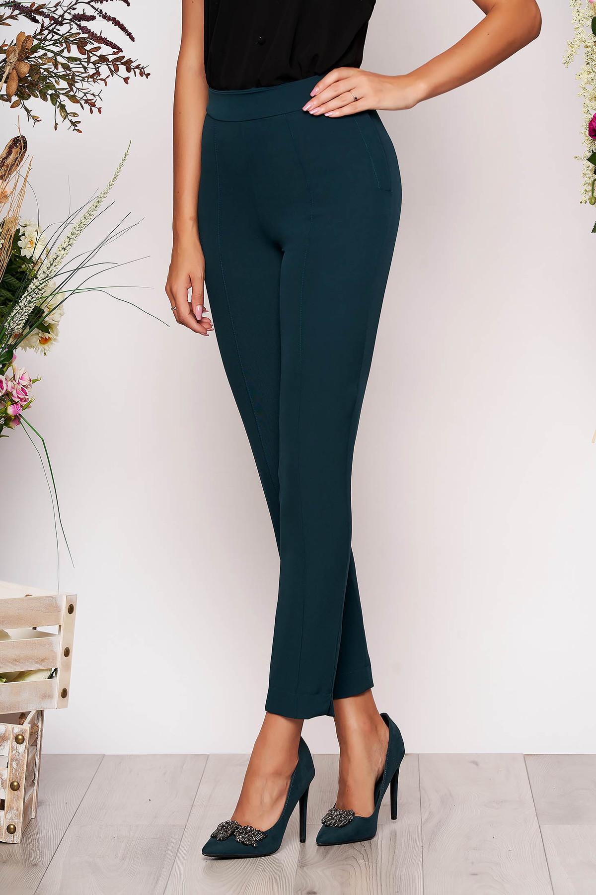 Pantaloni StarShinerS verzi eleganti office cu talie inalta din material usor elastic cu buzunare