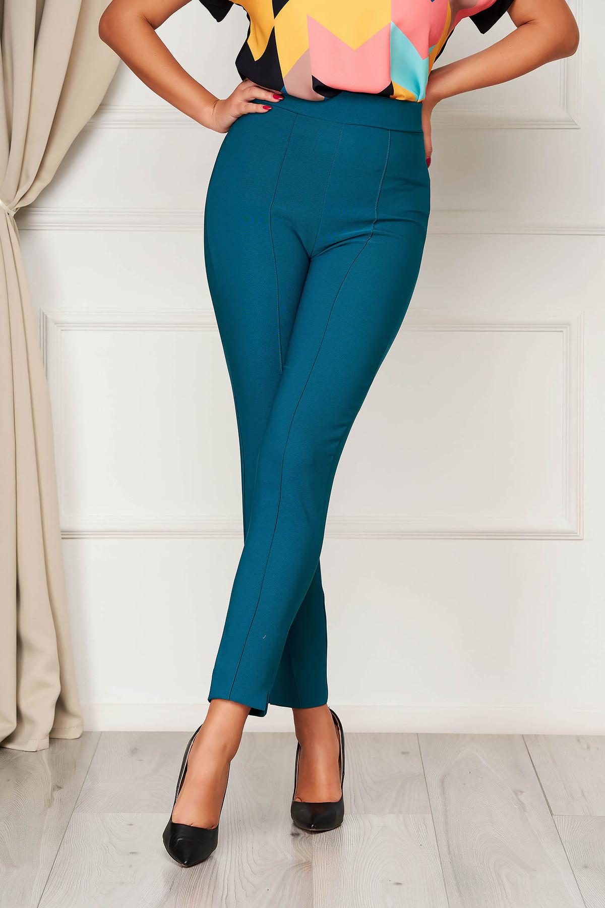 Pantaloni StarShinerS verzi office conici din stofa elastica cu talie inalta si buzunare