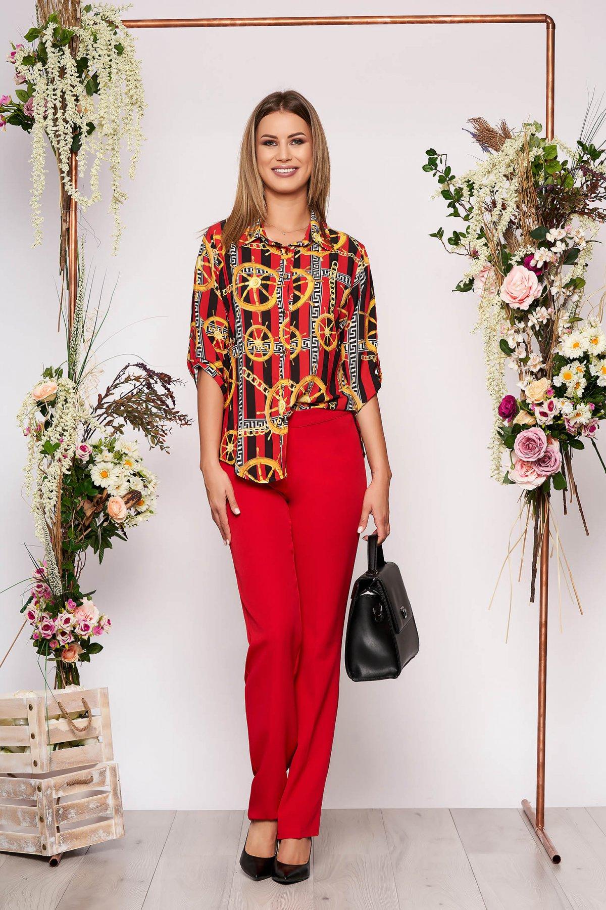 Compleu rosu elegant din 2 piese din bumbac cu pantalon si camasa cu imprimeuri grafice