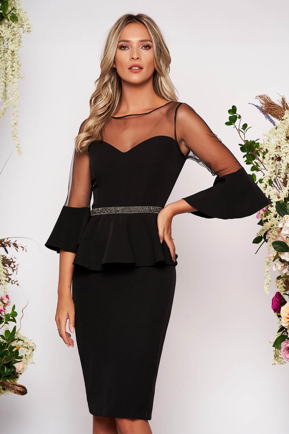 Rochie neagra midi de ocazie tip creion din stofa cu maneci clopot transparente captusita pe interior cu slit la spate