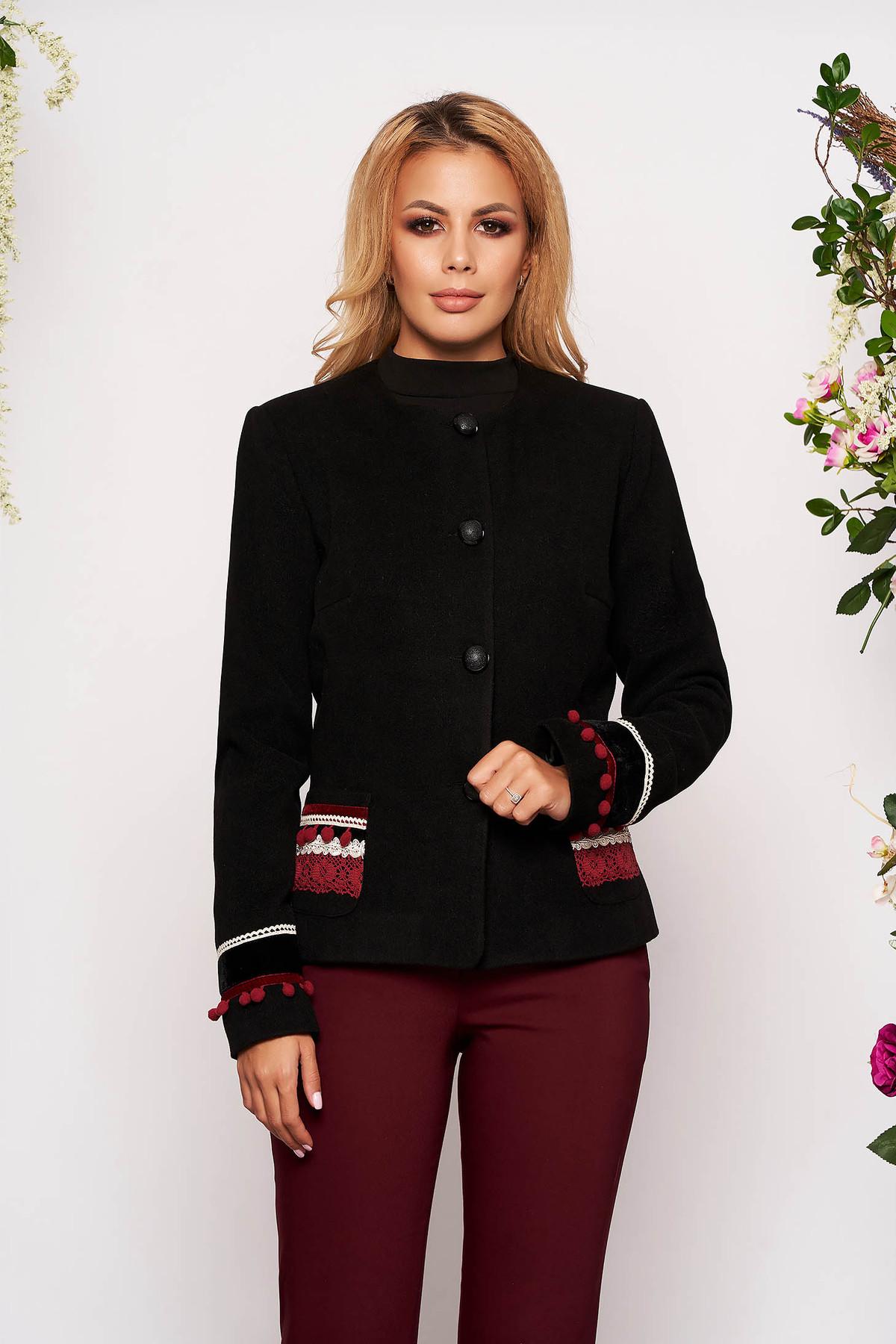 Sacou LaDonna negru din lana cambrat elegant tip blazer cu aplicatii cusute manual