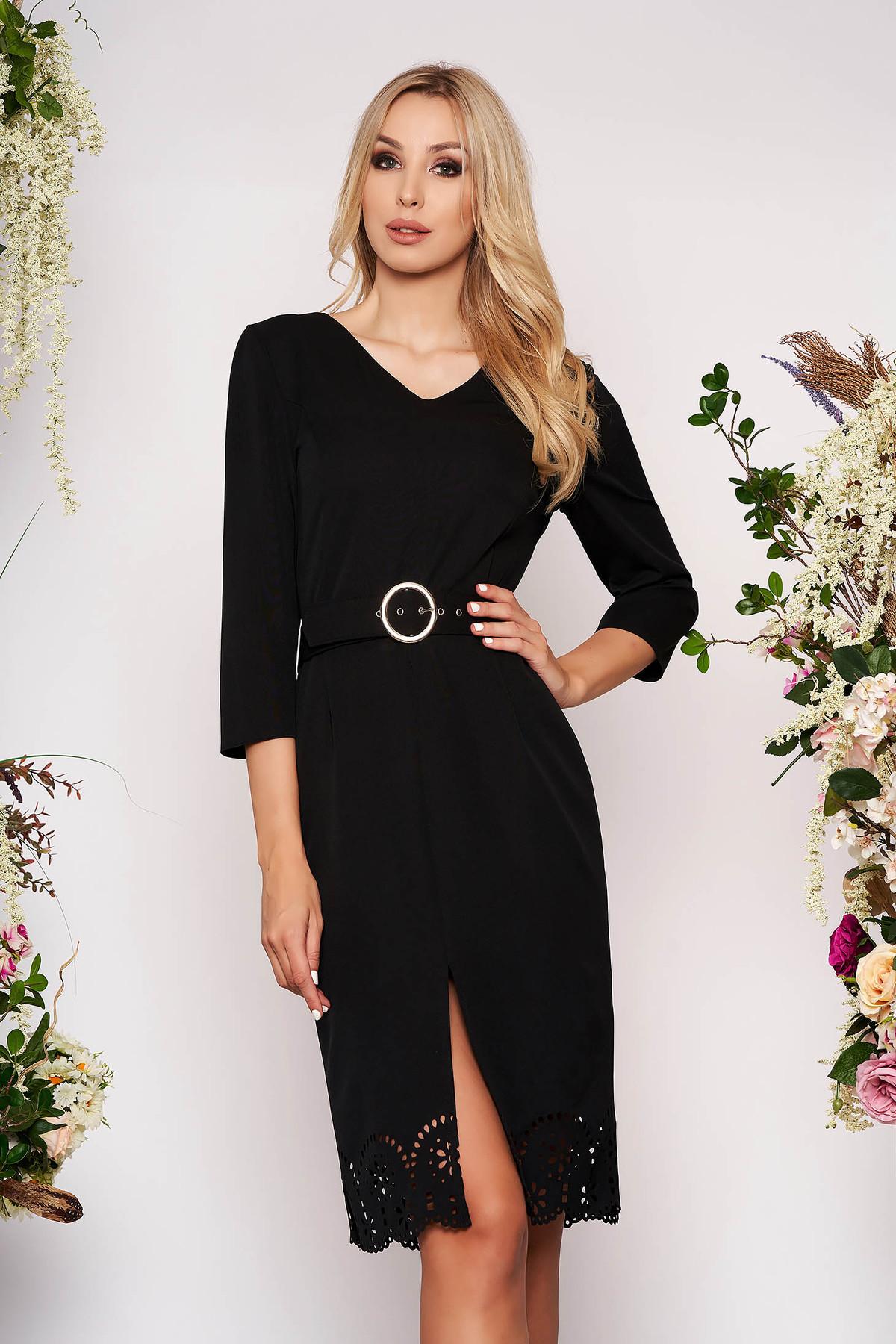 Rochie neagra eleganta midi tip creion cu decupaje in material cu decolteu in v cu accesoriu tip curea