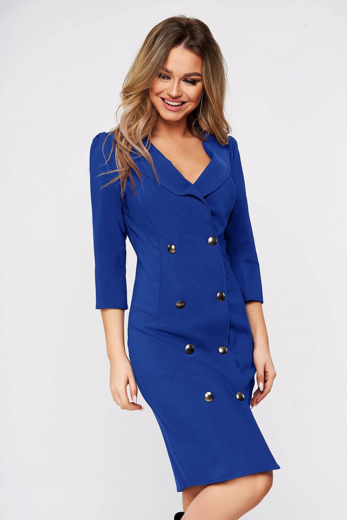Rochie Artista albastra eleganta petrecuta tip sacou din stofa usor elastica accesorizata cu nasturi Artista