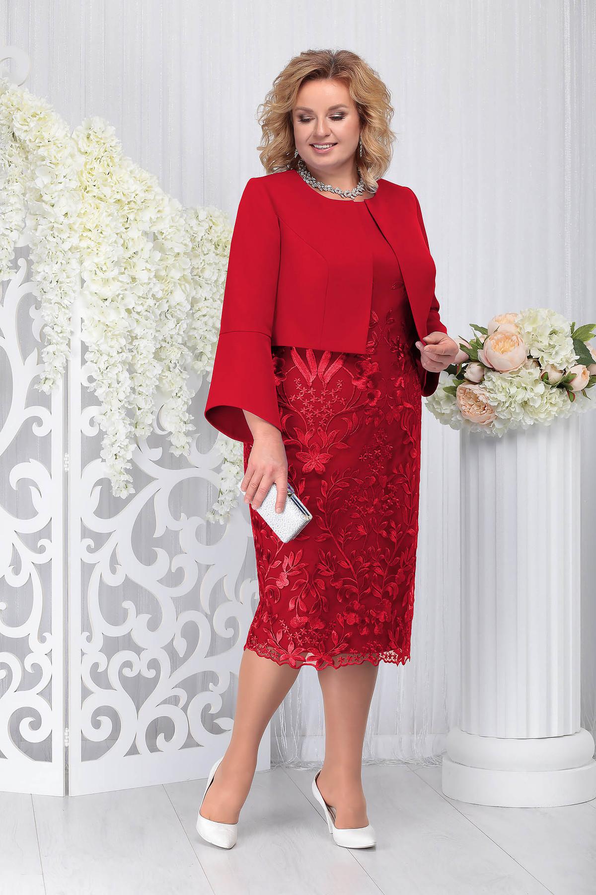 Compleu rosu elegant din 2 piese cu rochie din stofa usor elastica din dantela