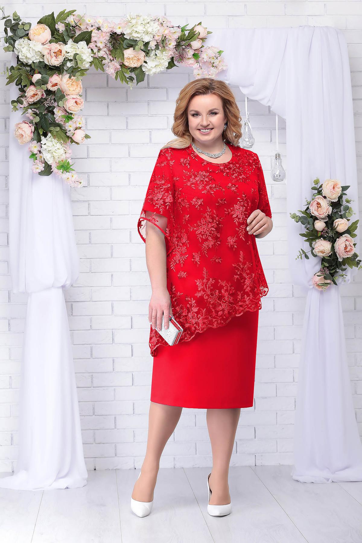 Compleu rosu elegant din 2 piese cu rochie imagine