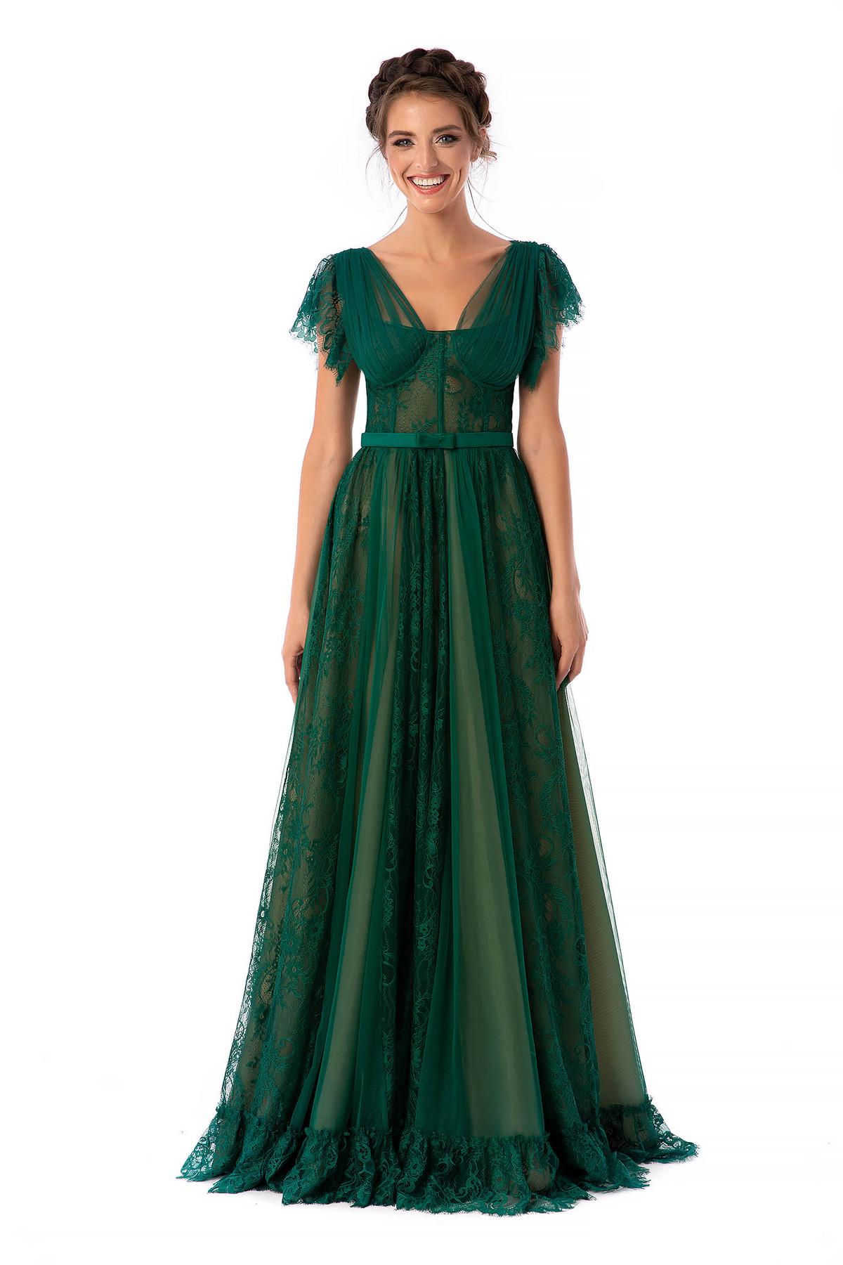 Rochie Ana Radu verde de lux lunga in clos tip corset din dantela cu volanase la bretele si cordon detasabil
