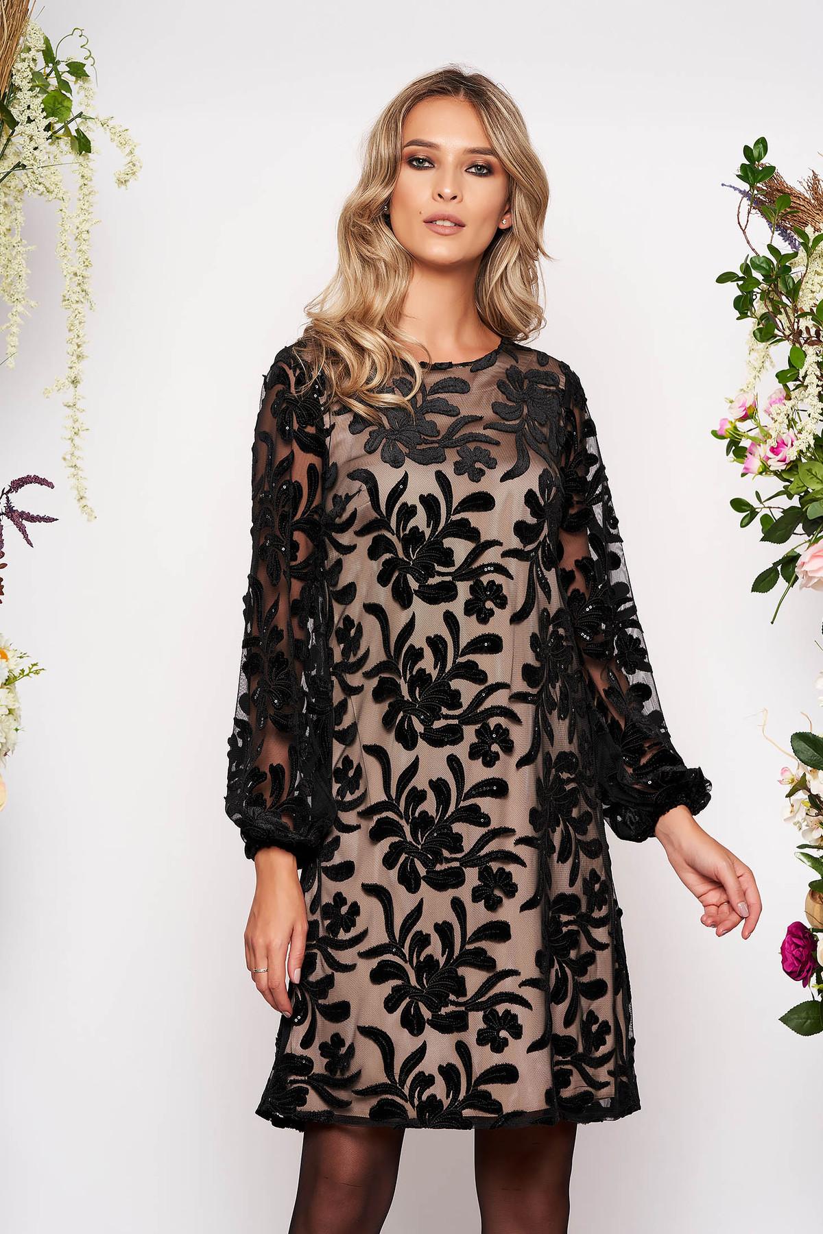 Rochie neagra scurta de ocazie cu croi larg cu maneci lungi cu aplicatii cu paiete captusita pe interior