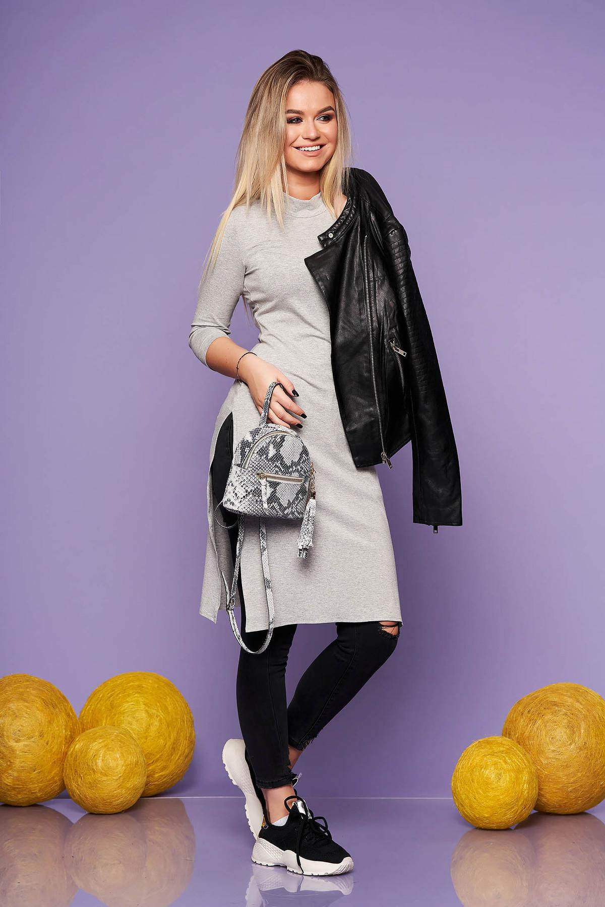 Bluza dama StarShinerS gri casual lunga din material elastic cu un croi mulat
