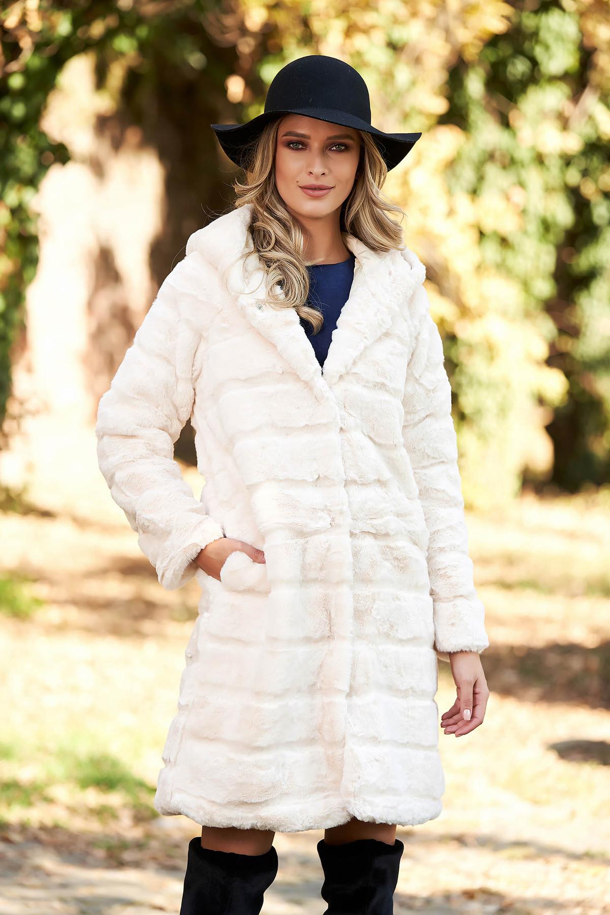 Blana SunShine crem elegant din blana ecologica captusit pe interior cu buzunare