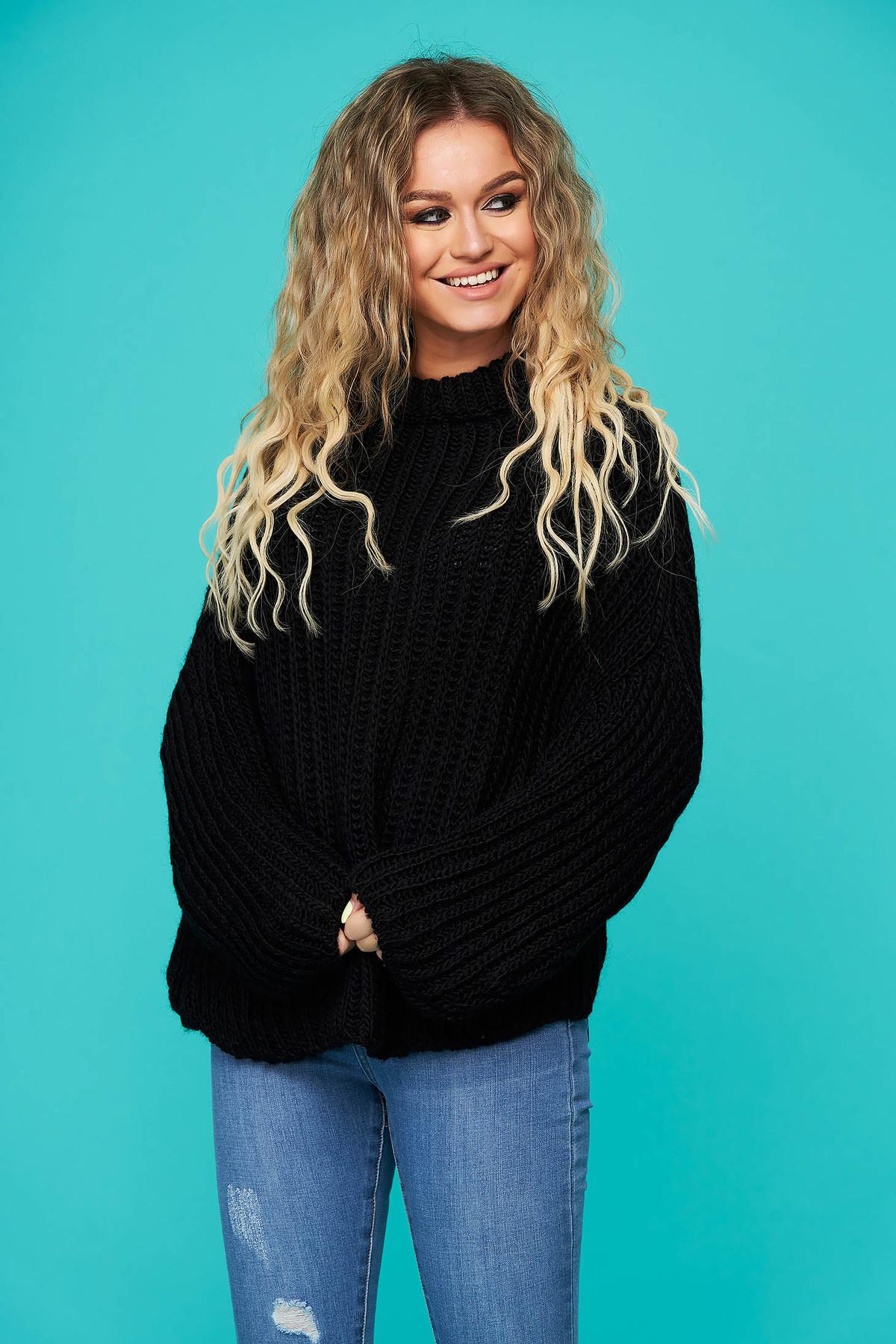 Pulover SunShine negru cu croi larg din material tricotat cu maneci lungi imagine