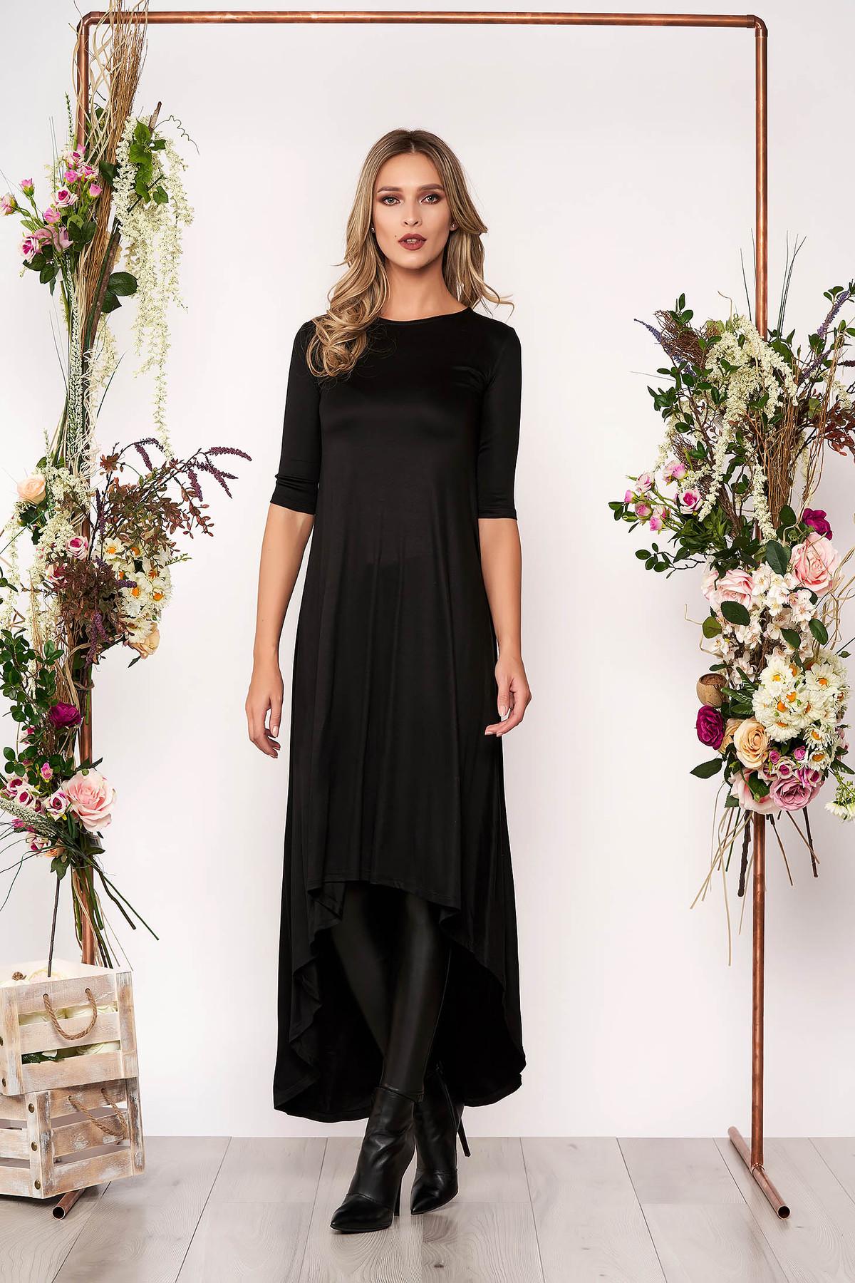 Rochie neagra asimetrica de zi din bumbac usor elastic cu maneci trei-sferturi