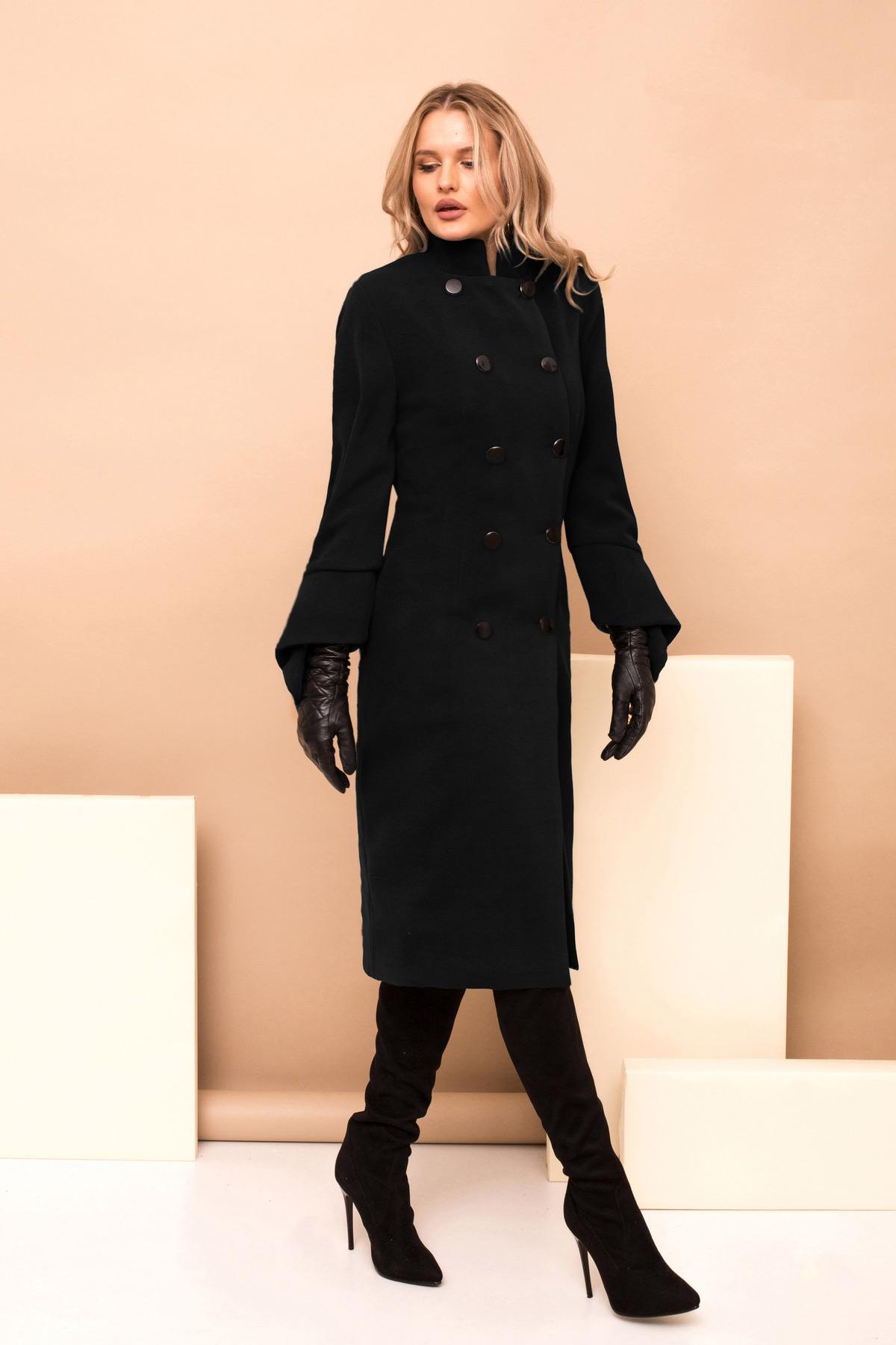 Palton PrettyGirl negru lung de ocazie cu un croi drept pe gat accesorizat cu nasturi
