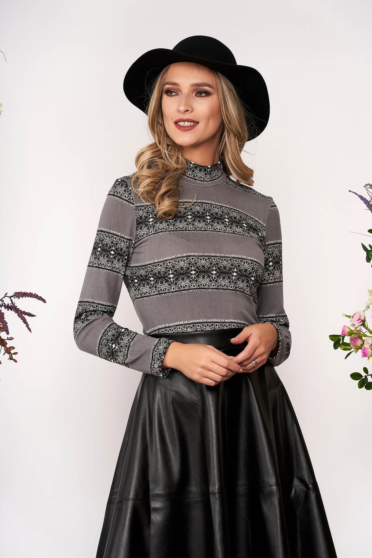 Pulover StarShinerS gri elegant scurt mulat din tricot pe gat cu maneci lungi