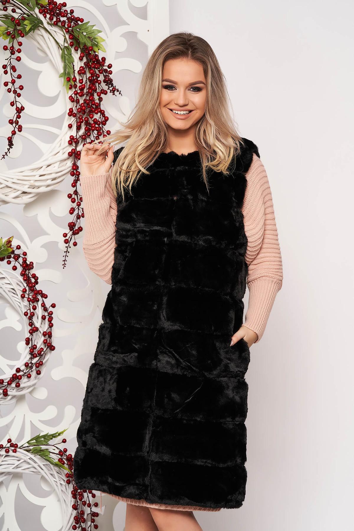 Vesta SunShine negru elegant din blana ecologica fara maneci cu buzunare captusita pe interior