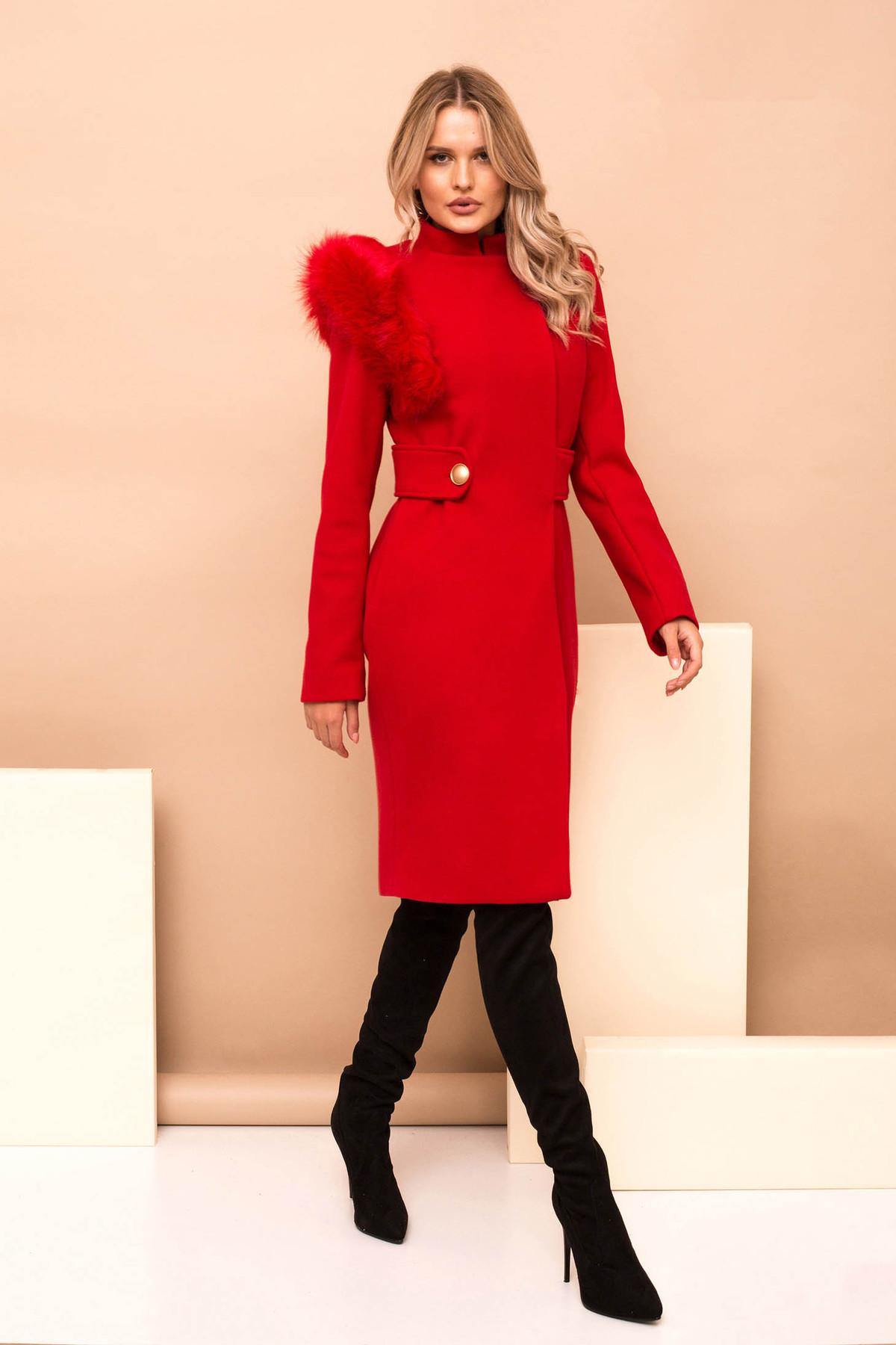 Palton PrettyGirl rosu din stofa cu insertii cu blana ecologica accesorizat cu cordon