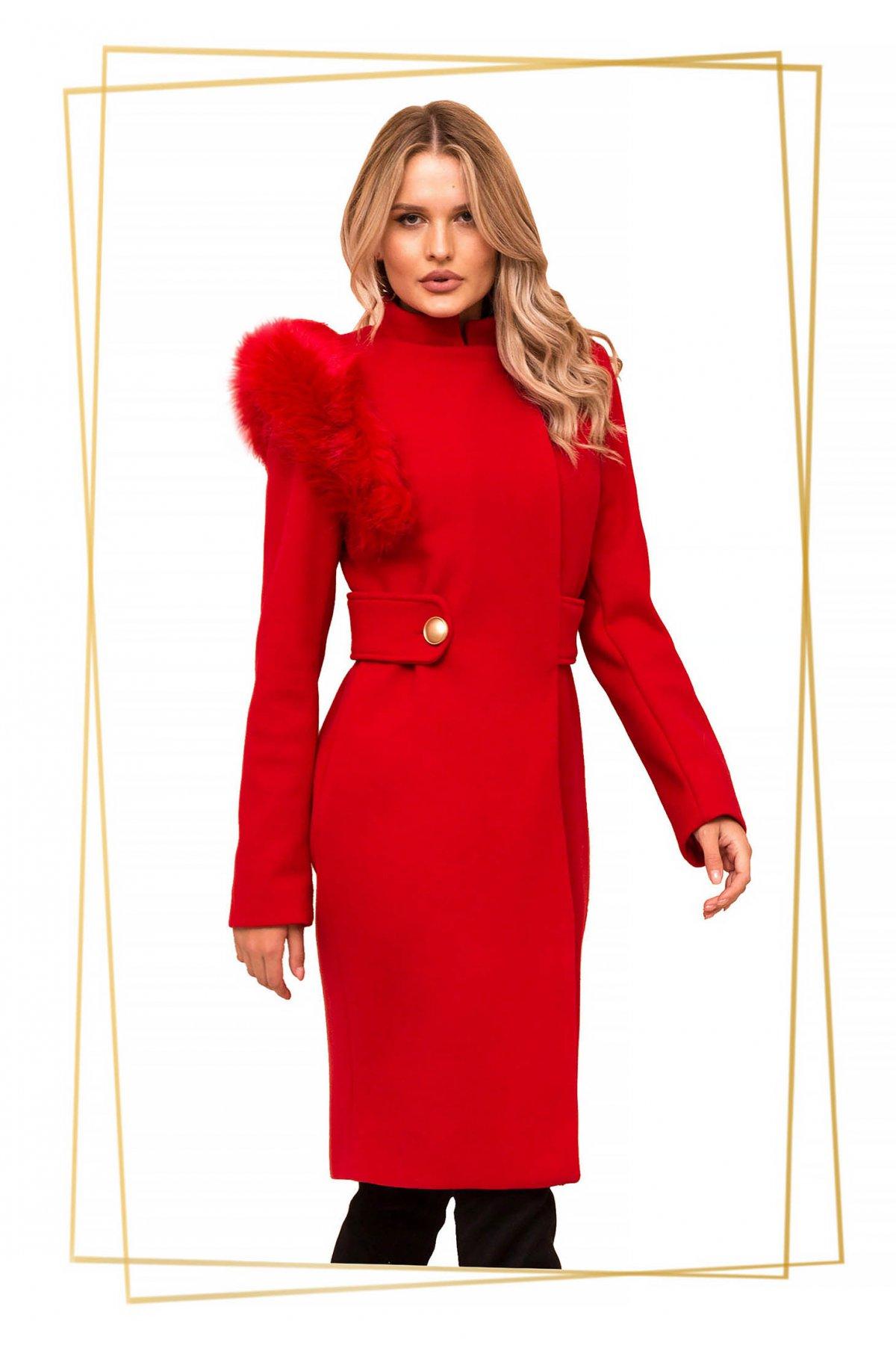 Palton PrettyGirl rosu din stofa cu insertii cu blana ecologica accesorizat cu cordon imagine