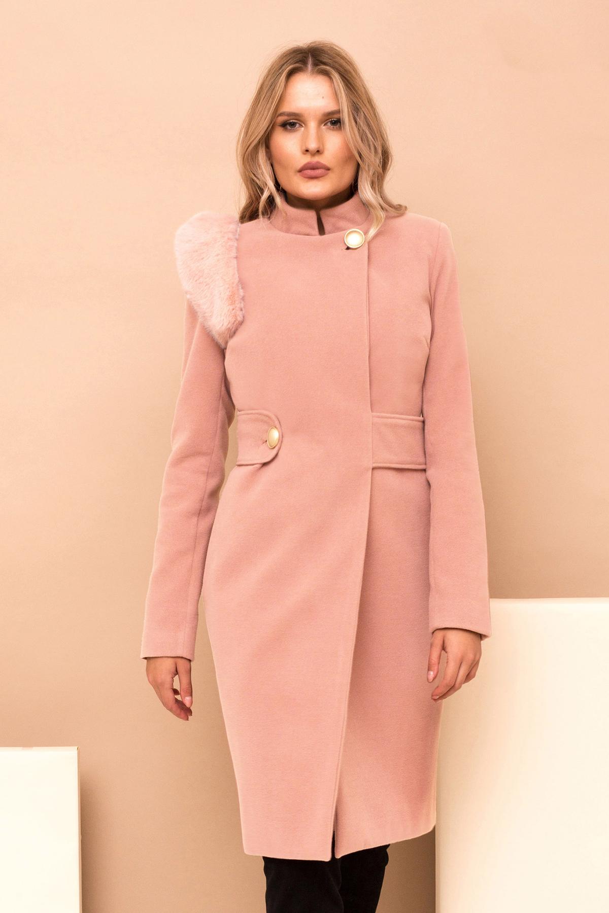 Palton PrettyGirl roz prafuit din stofa cu insertii cu blana ecologica accesorizat cu cordon