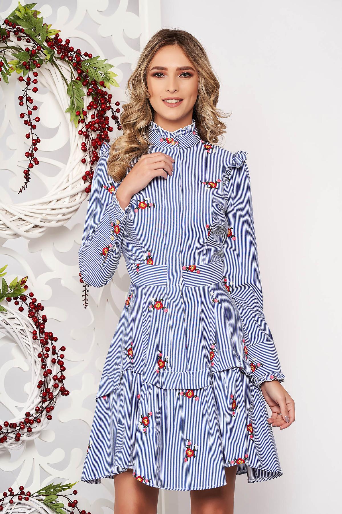 Rochie Artista albastra croi in clos asimetrica cu imprimeuri florale cu volanase guler inalt