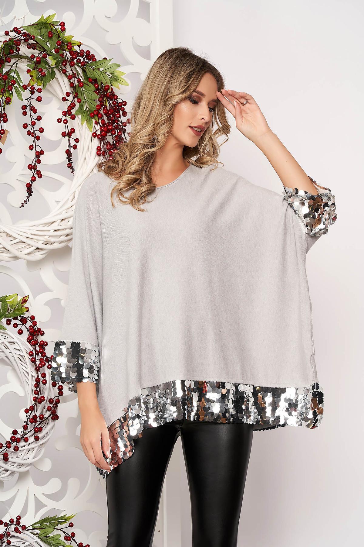 Bluza dama SunShine gri cu croi larg scurta din material elastic si subtire cu aplicatii cu paiete cu maneci scurte