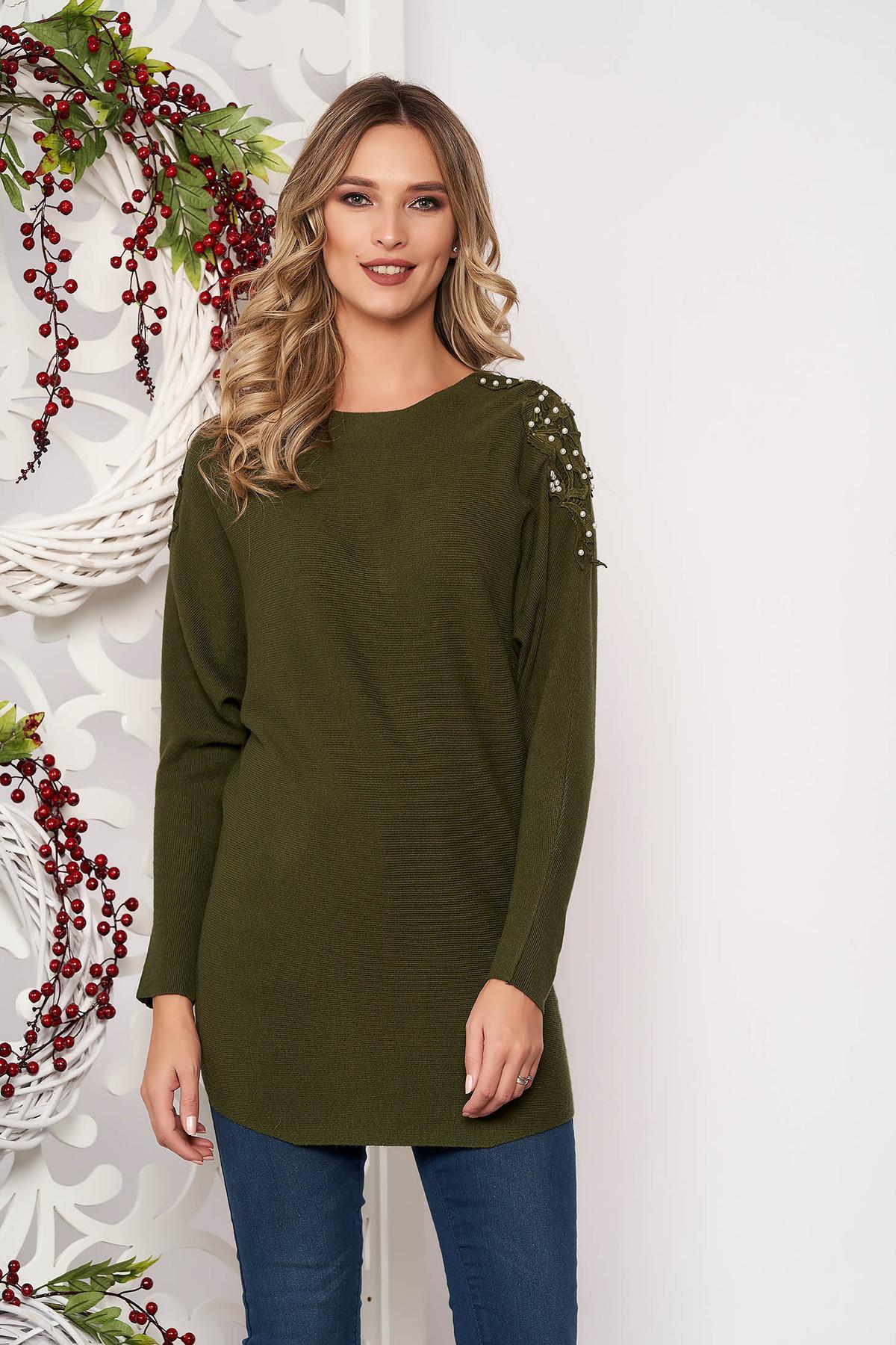 Pulover SunShine verde-inchis cu croi larg scurt din material tricotat cu aplicatii de dantela cu maneci lungi
