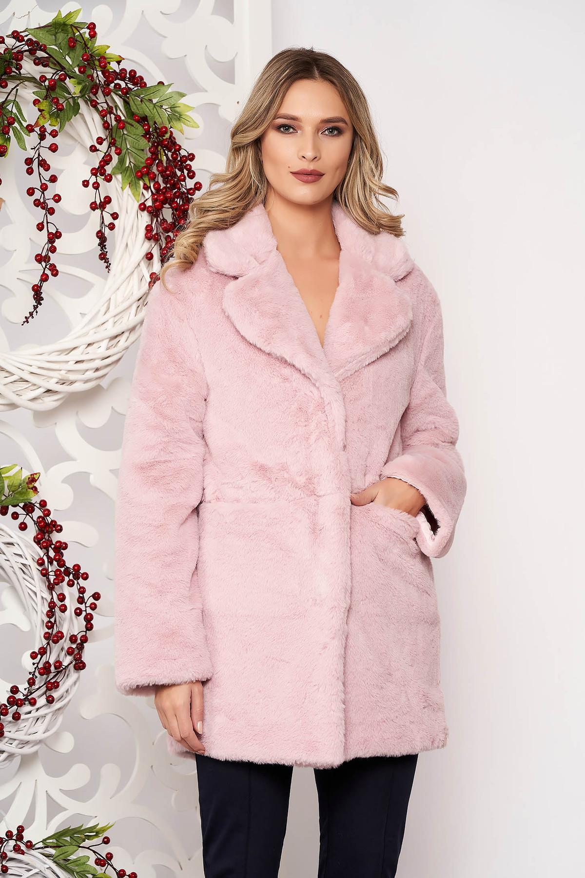Blana SunShine roz prafuit cu buzunare cu maneci lungi accesorizat cu nasturi