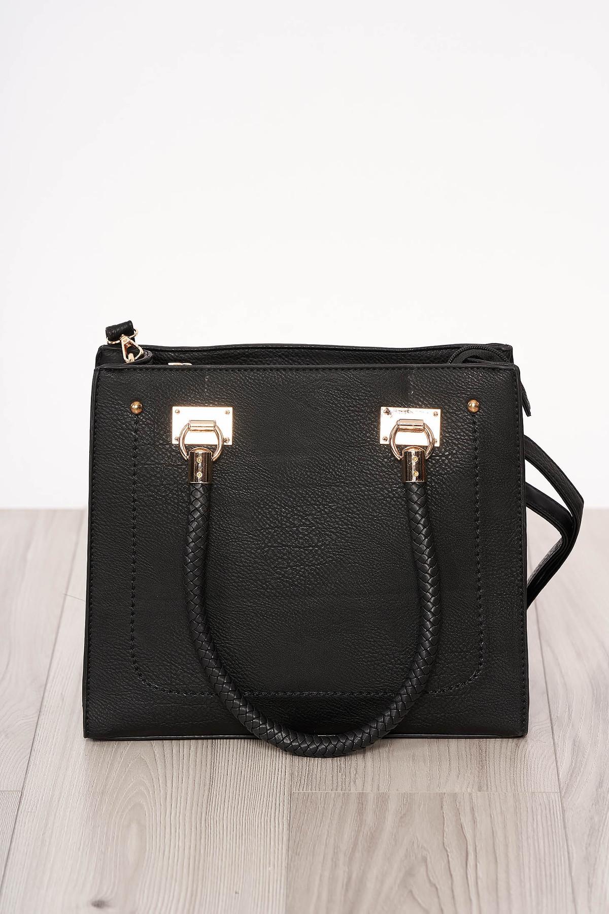 Geanta dama SunShine neagra material din piele ecologica accesorizata cu fermoar cu manere scurte cu maner lung reglabil