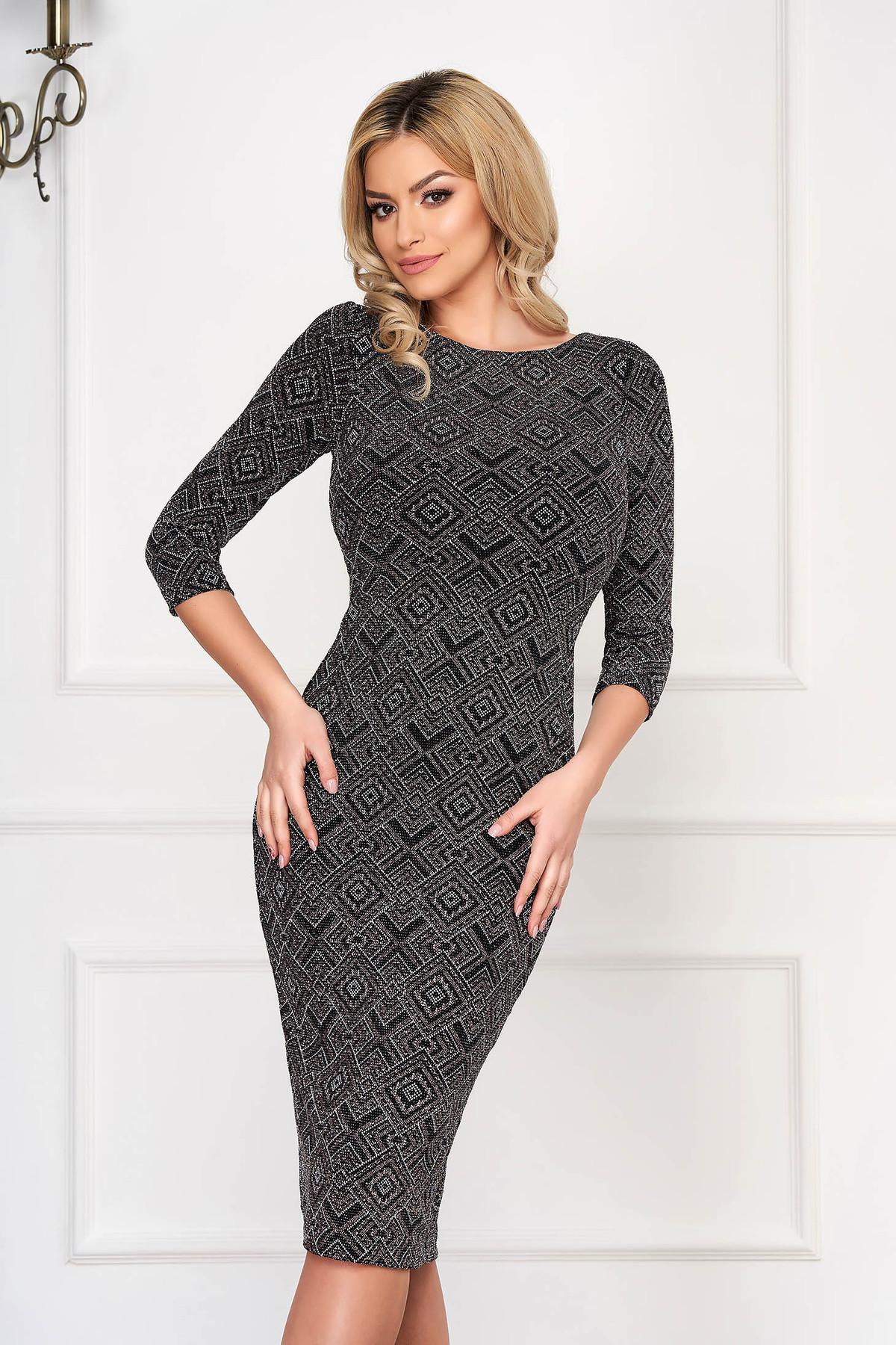 Rochie StarShinerS neagra din material tricotat cu fir stralucitor tip creion midi cu maneca 3/4