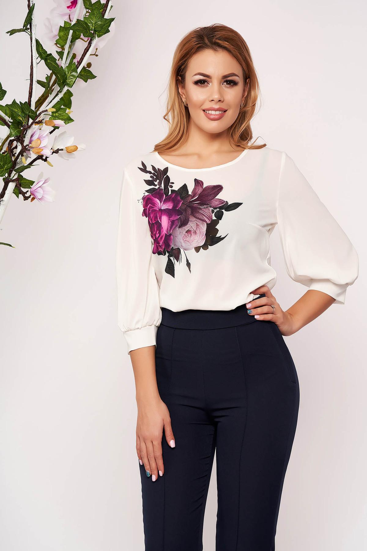 Bluza dama StarShinerS alba casual eleganta cu imprimeuri florale cu maneci trei-sferturi si decolteu la baza gatului