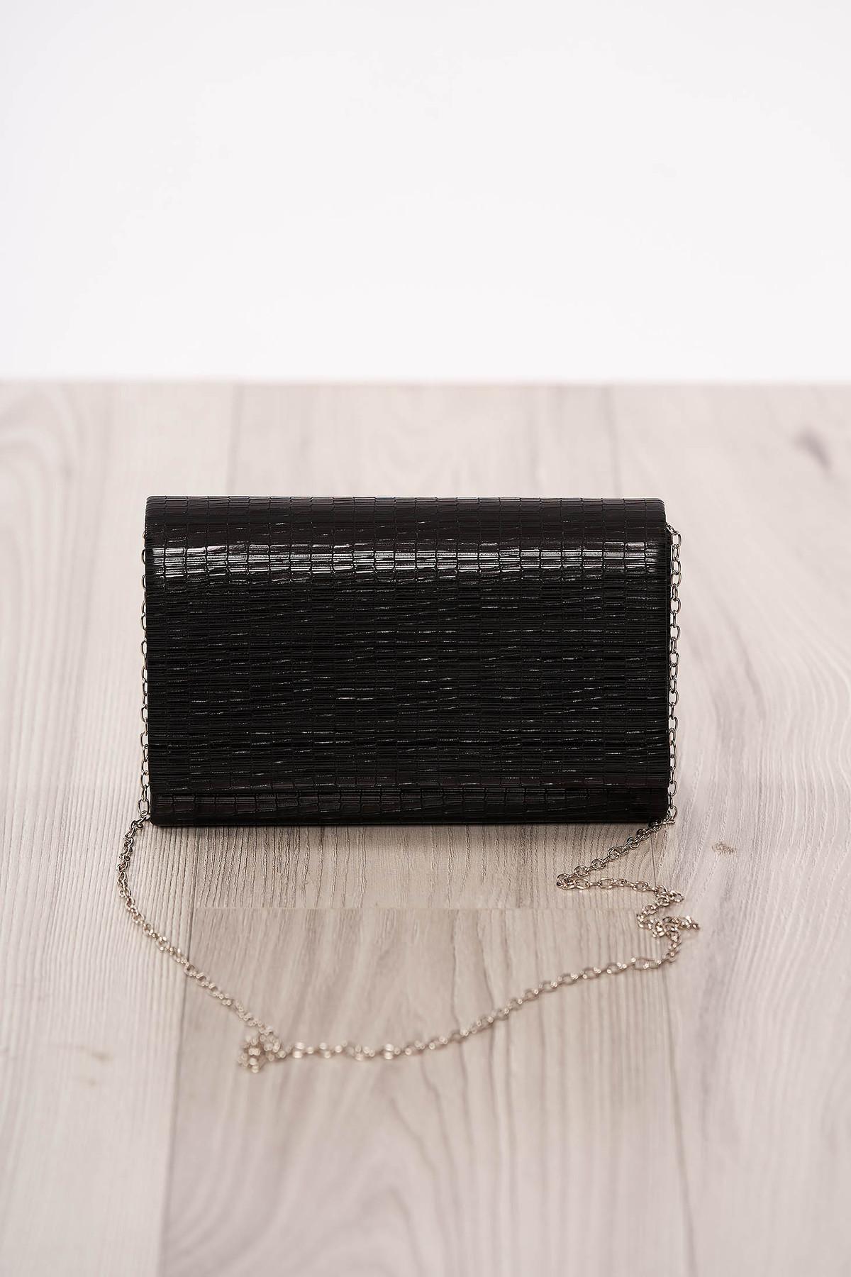 Geanta dama plic neagra de ocazie din piele ecologica cu maner lung tip lantisor