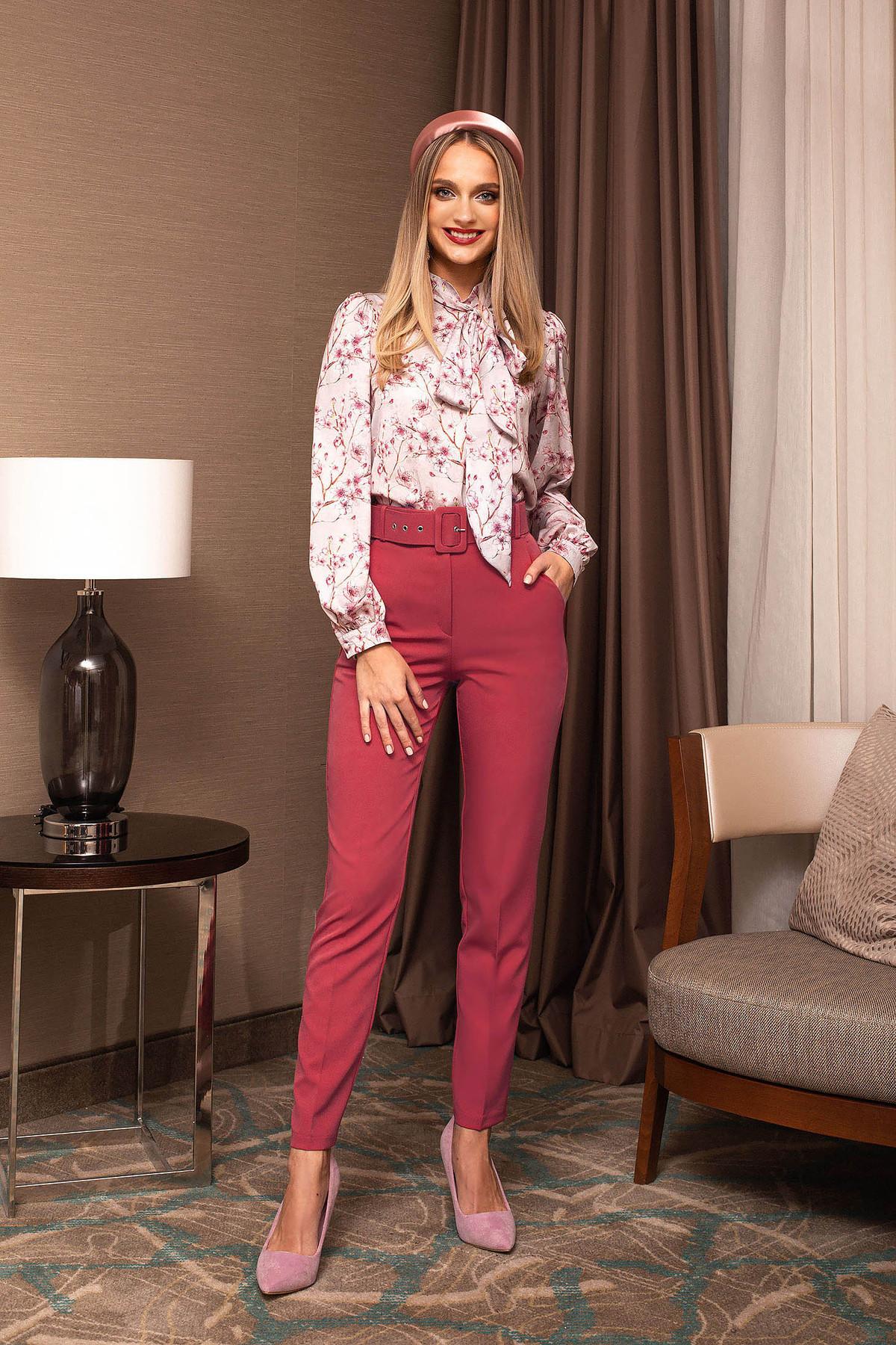 Pantaloni PrettyGirl corai office conici cu talie inalta cu accesoriu tip curea