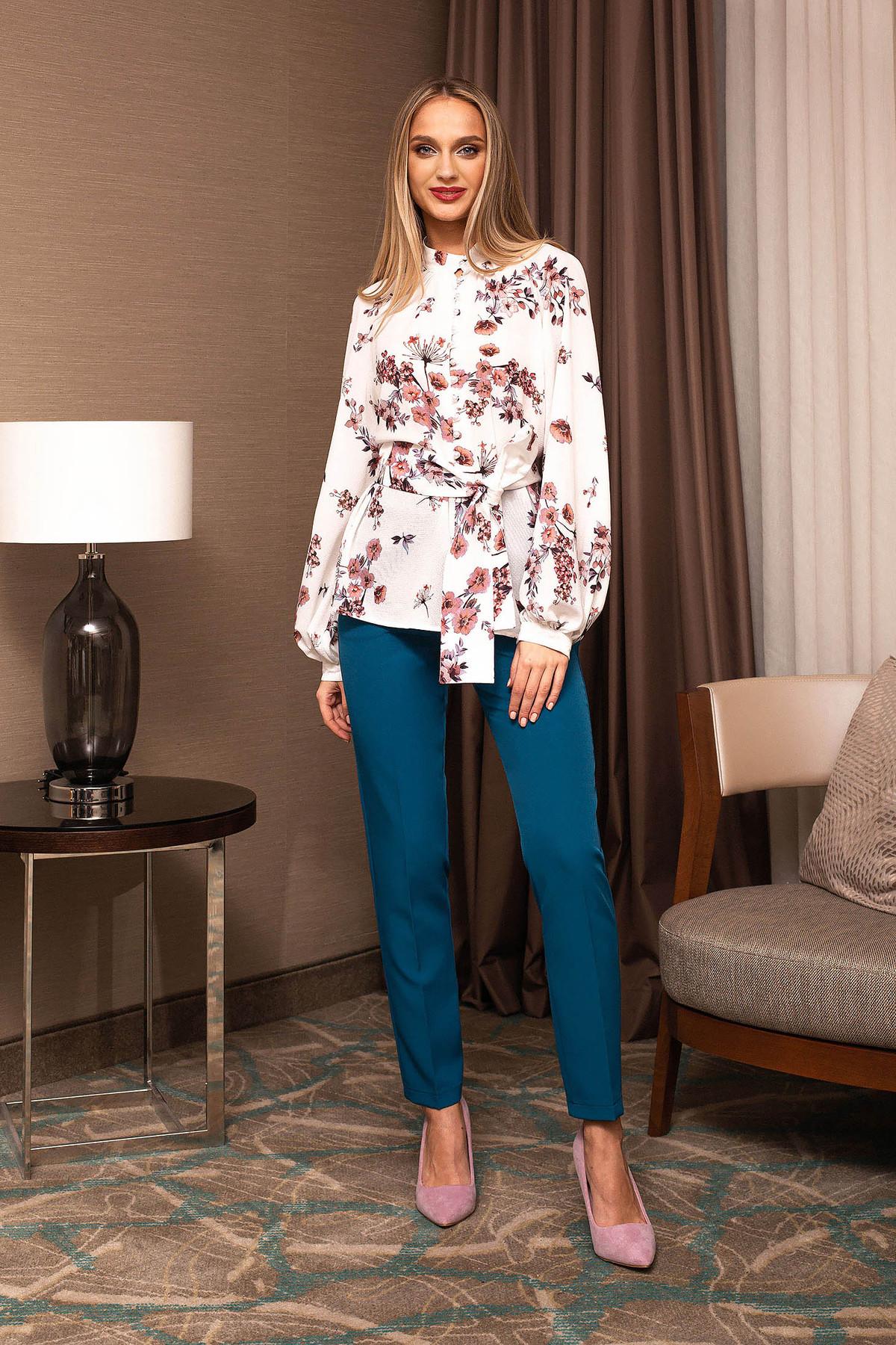 Pantaloni PrettyGirl turcoaz office conici cu talie inalta cu accesoriu tip curea