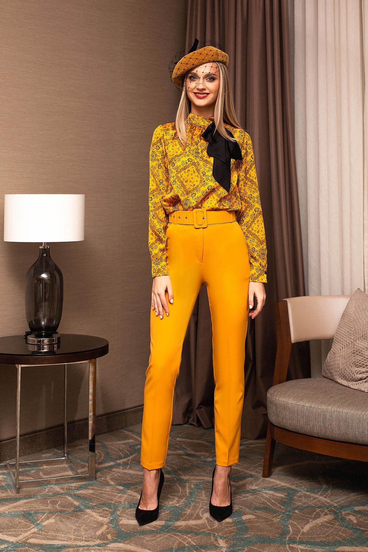 Pantaloni PrettyGirl mustarii office conici cu talie inalta cu accesoriu tip curea