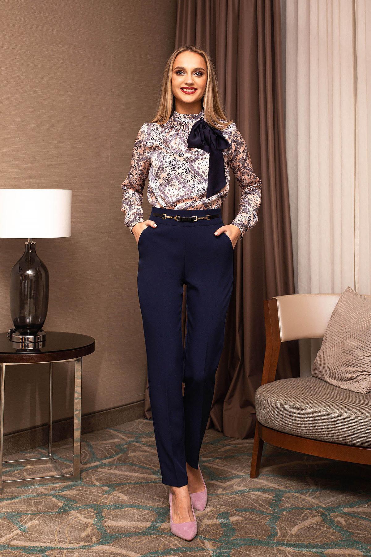 Pantaloni PrettyGirl albastru-inchis office conici accesorizati cu cureluse frontal pe talie