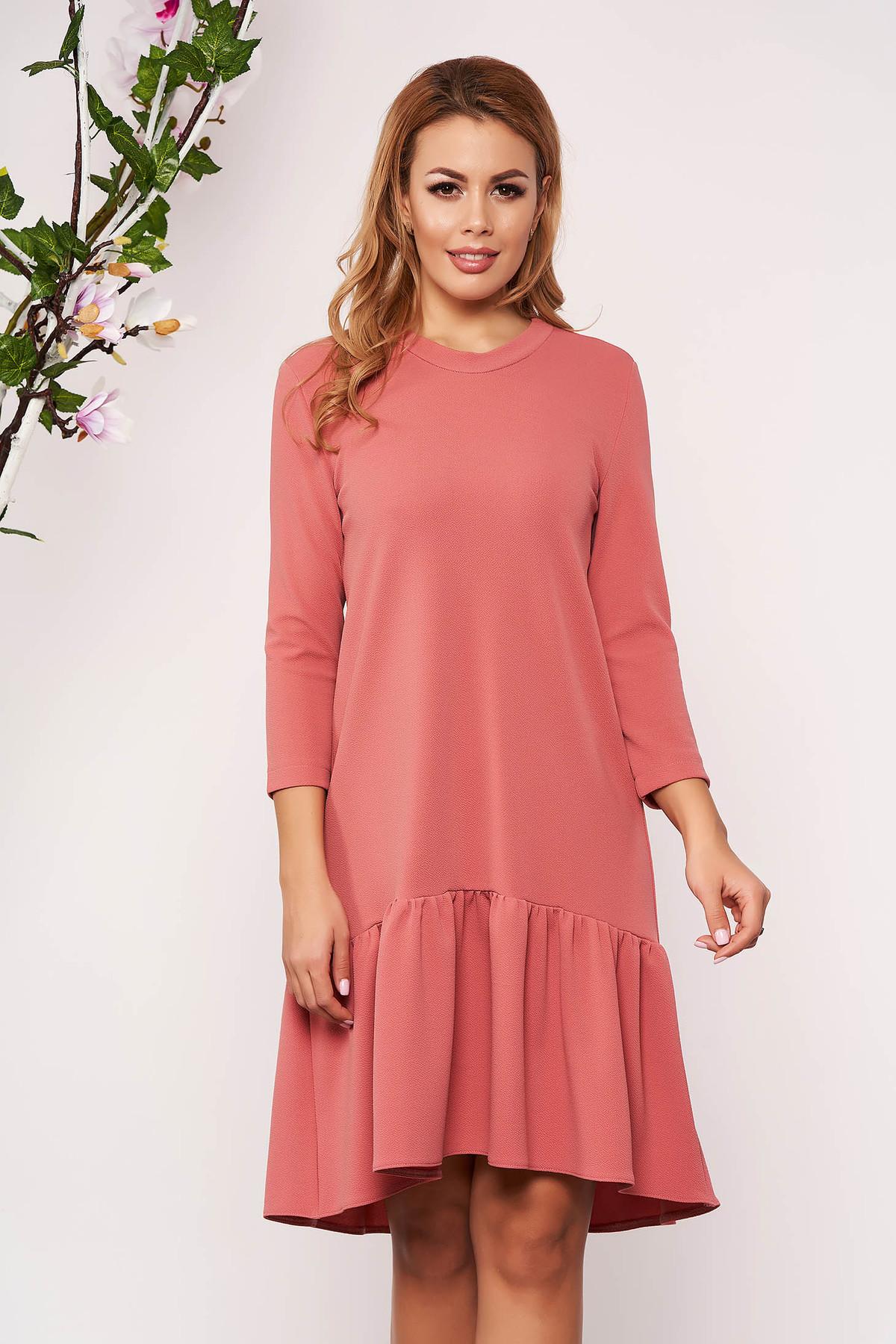 Rochie StarShinerS roz de zi cu croi larg fara captuseala cu maneci trei-sferturi si volanase la baza rochiei