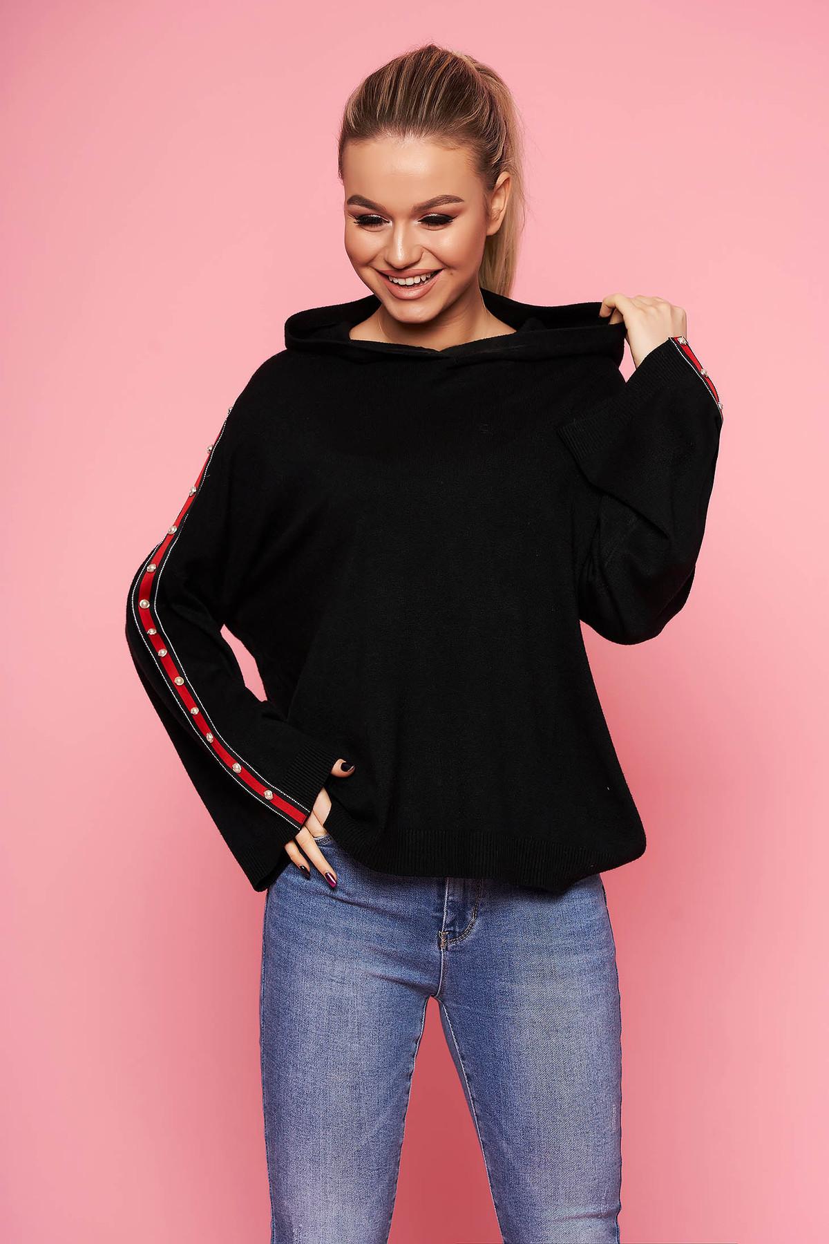 Pulover SunShine negru casual tricotat cu croi larg cu gluga nedetasabila fara captuseala