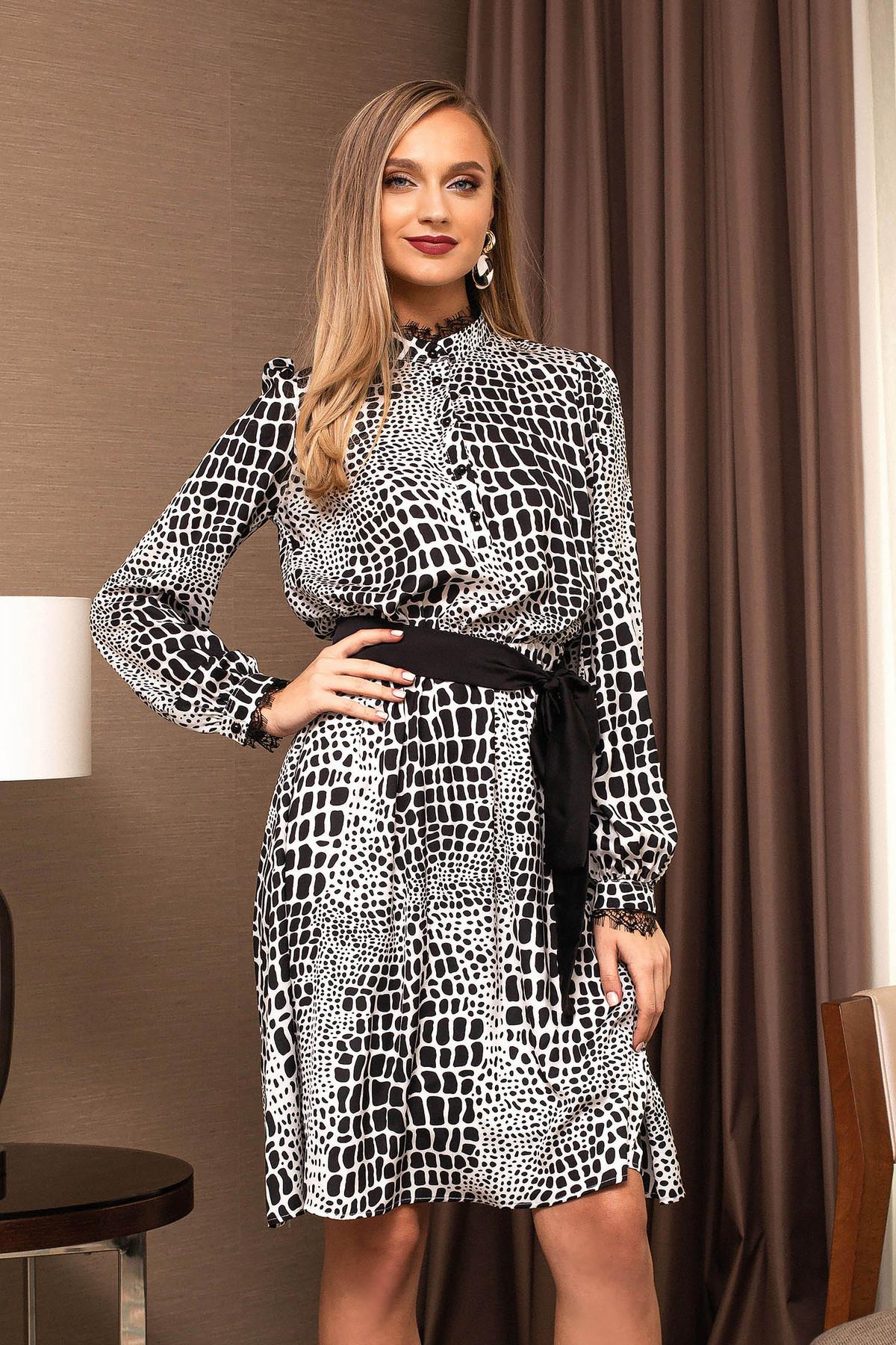 Rochie PrettyGirl neagra eleganta midi in clos cu maneci lungi si imprimeuri grafice