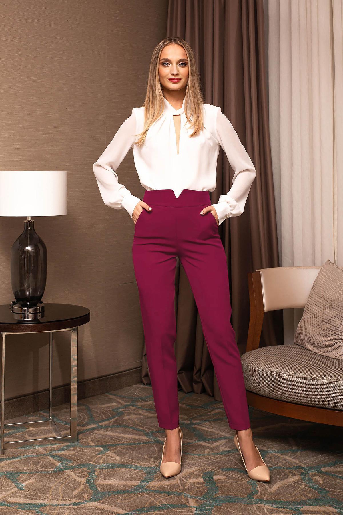 Pantaloni PrettyGirl fuchsia office conici cu talie inalta si croi pana