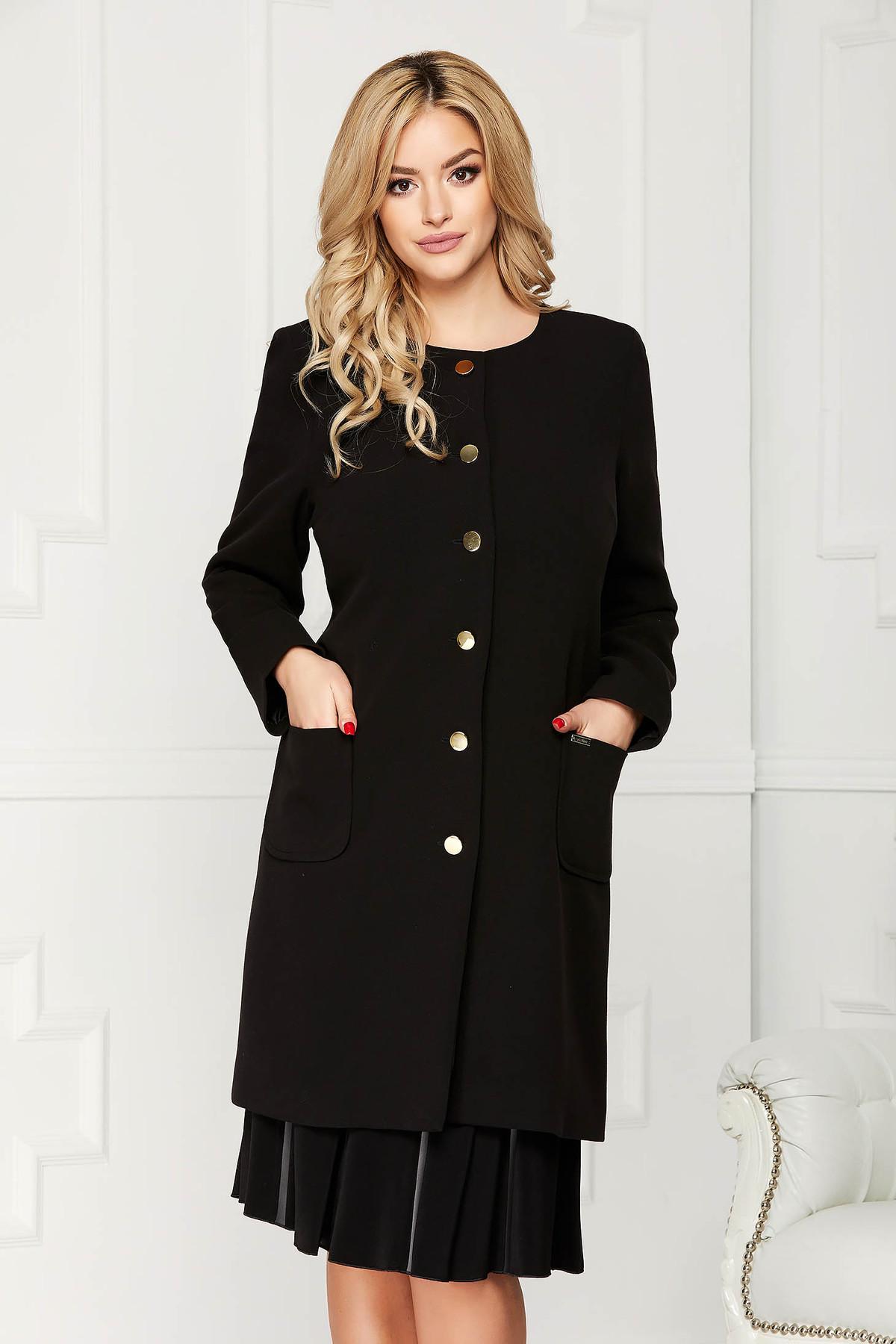 Trench negru elegant din stofa cu un croi drept cu buzunare si inchidere cu nasturi