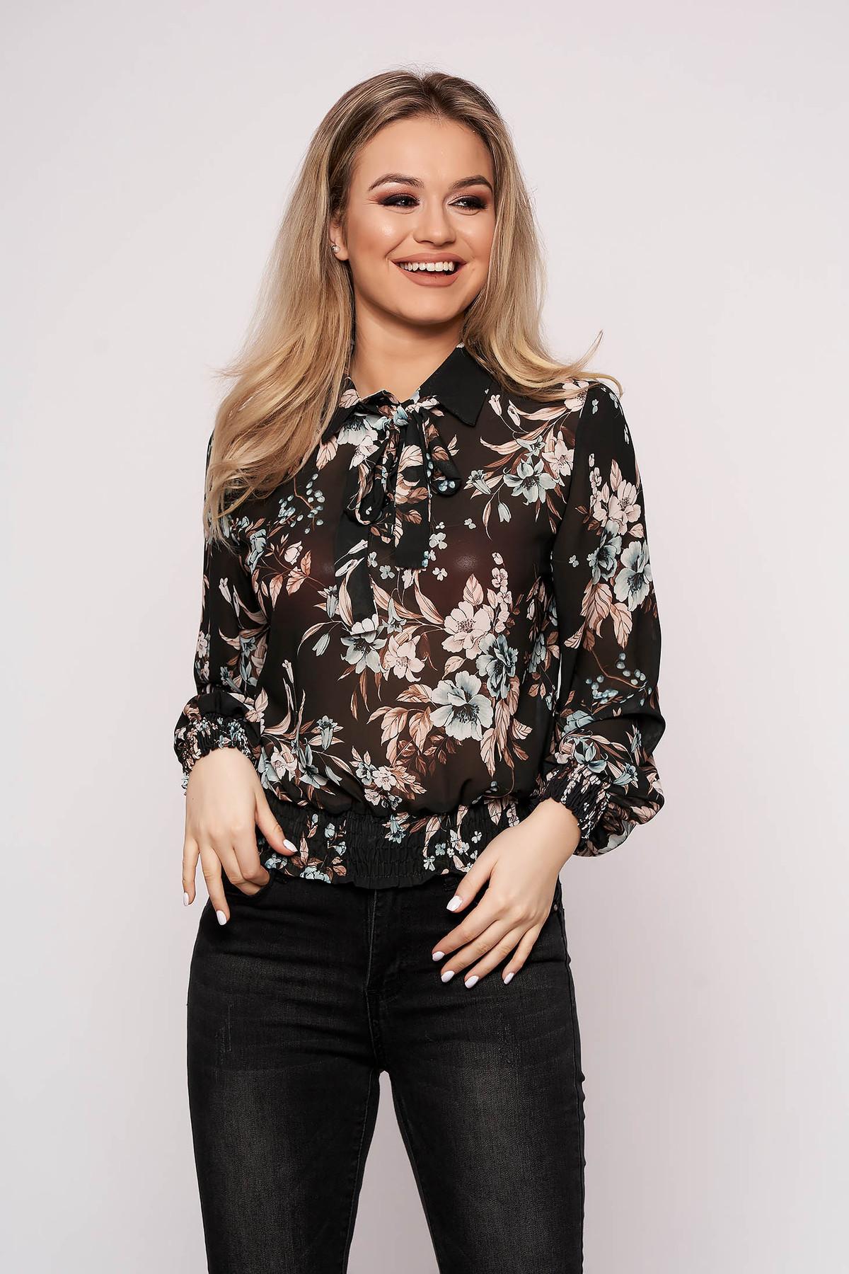 Bluza dama neagra SunShine casual cu maneca lunga cu croi larg scurta din voal cu imprimeu floral
