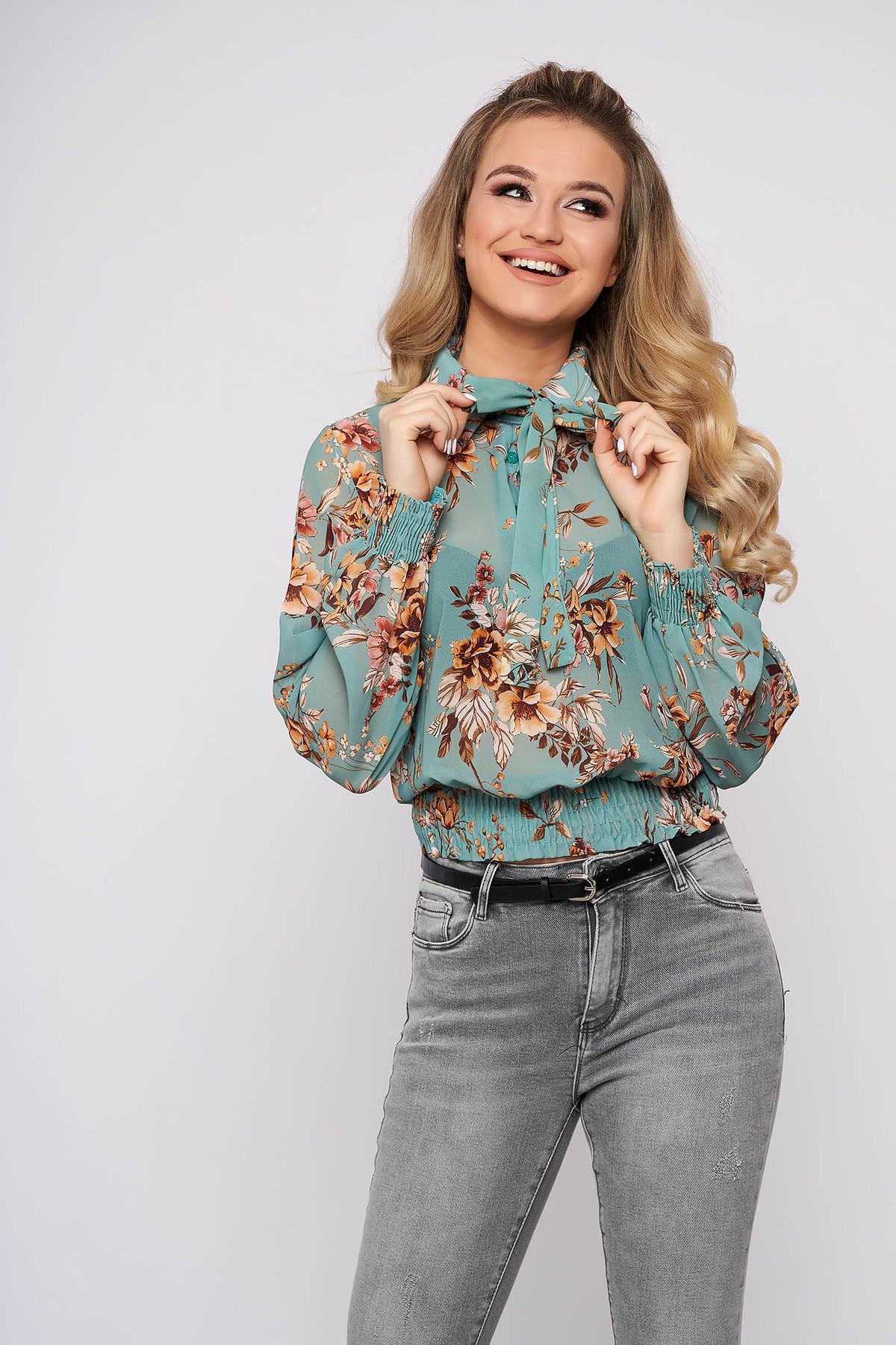 Bluza dama turcoaz SunShine casual cu maneca lunga cu croi larg scurta din voal cu imprimeu floral