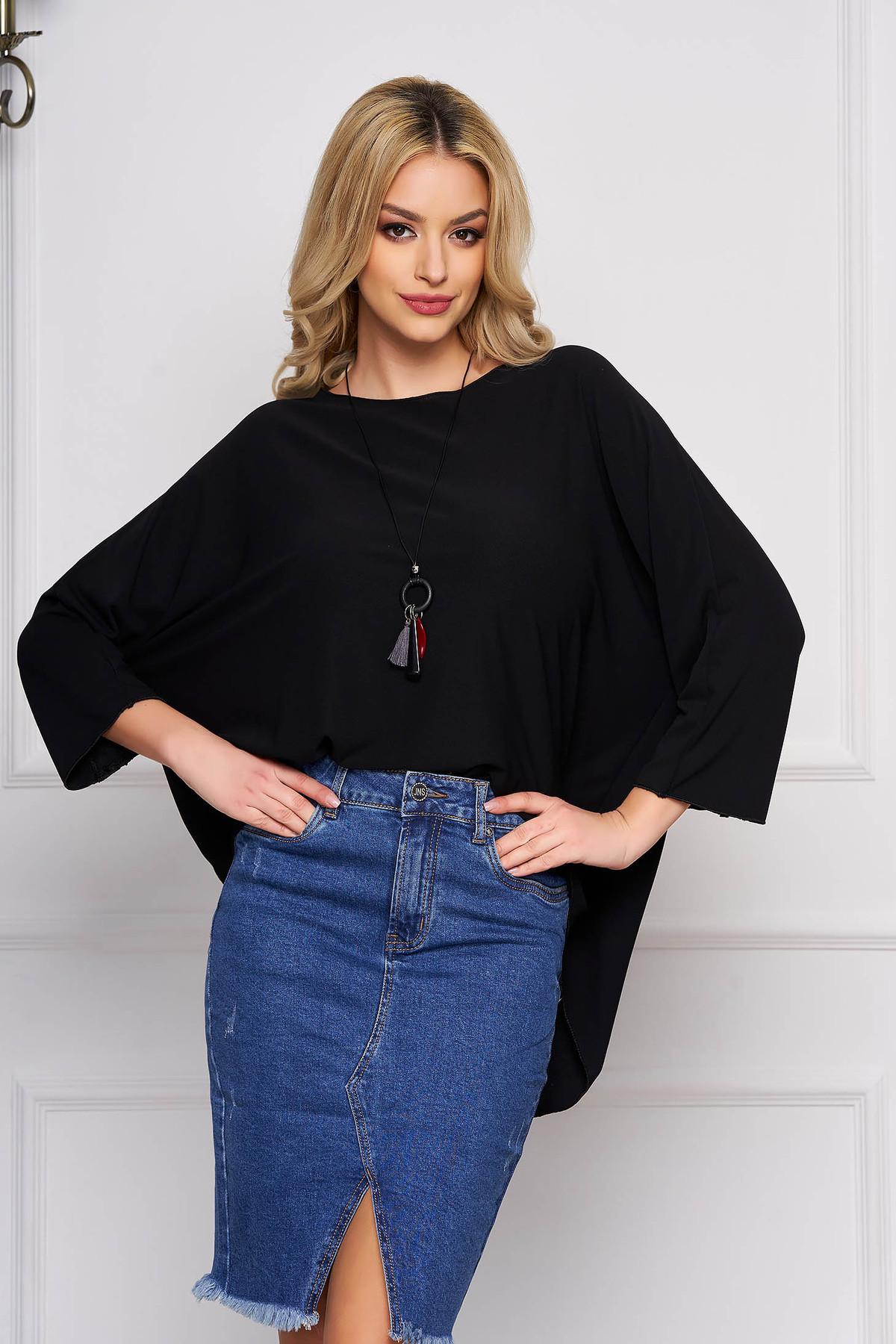 Bluza dama SunShine neagra casual scurta asimetrica din bumbac cu croi larg