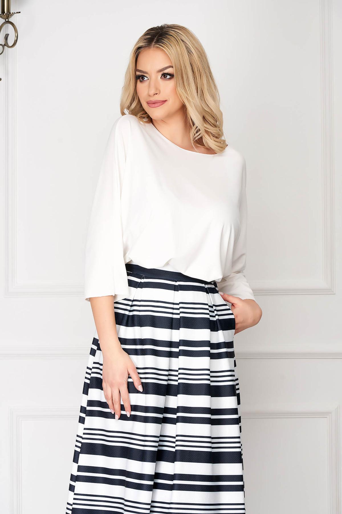 Bluza dama SunShine alba casual scurta asimetrica din bumbac cu croi larg