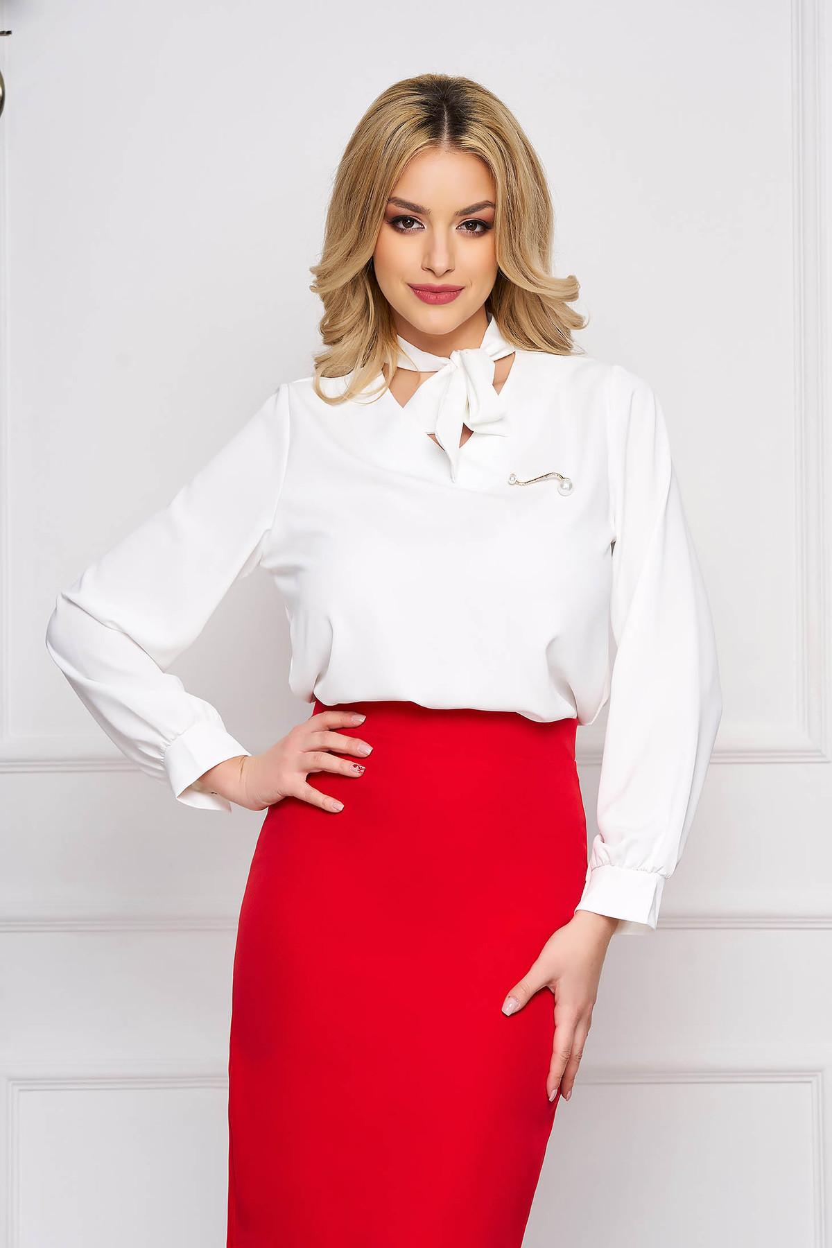 Bluza dama SunShine alba office scurta din voal cu croi larg si guler tip esarfa