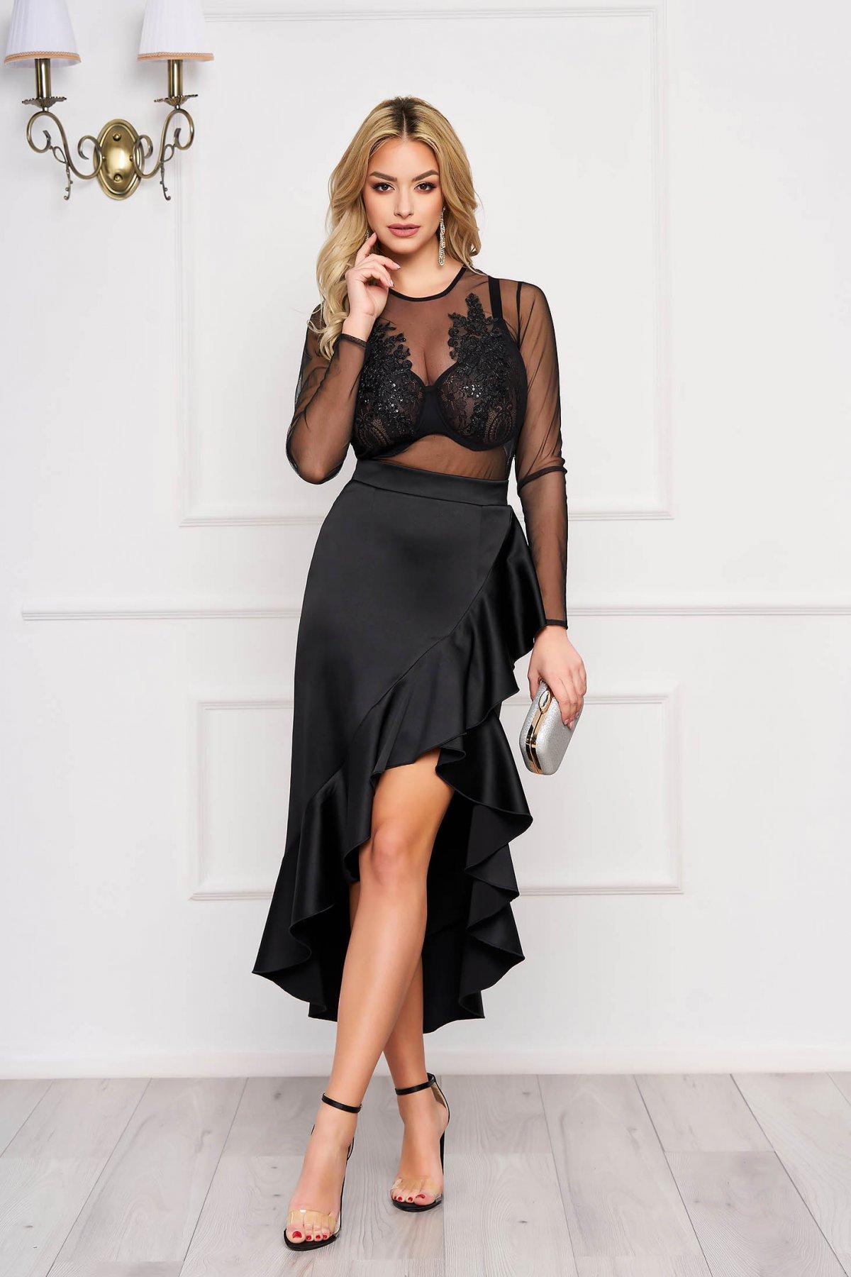 Set StarShinerS negru de ocazie cu fusta petrecuta din satin si bluza din material transparent